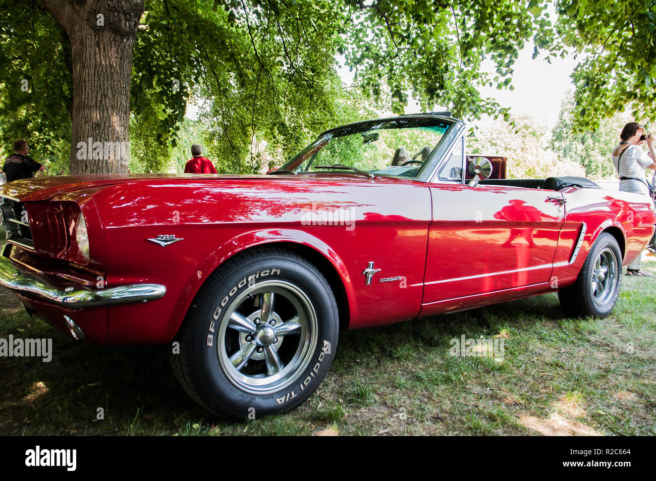 Prague, Czech Republic, May 26, 2018, Ford Mustang 4.7 red, year of production 1965 is a sports car manufactured by the first generation Ford Motor Co - Stock Image