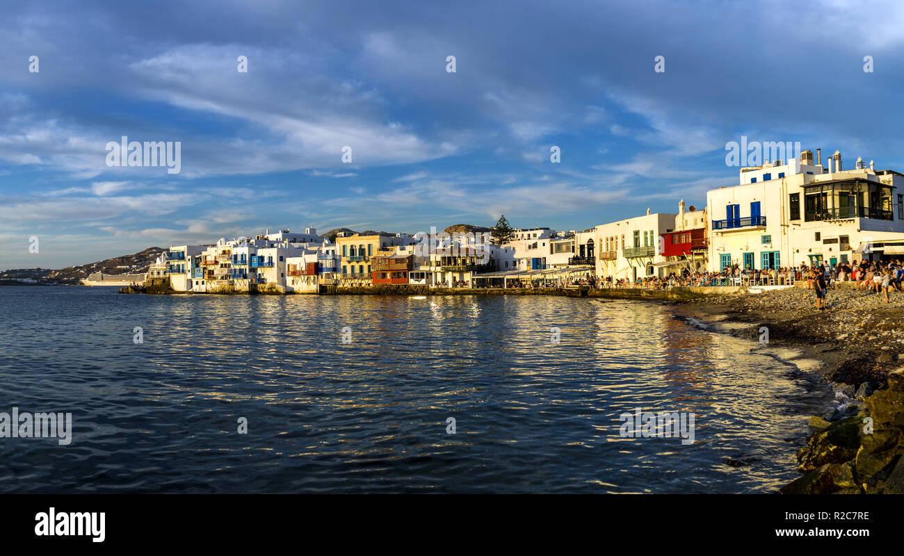 Island of Mykonos, Greece. Picturesque scene from the area called the 'Little Venice' due to its resemblance to Venice. - Stock Image