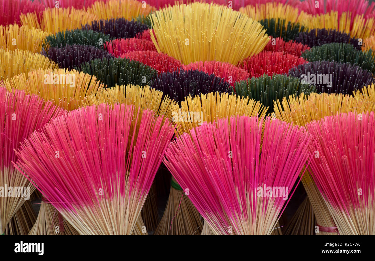 Colorful incenses snapshot - Stock Image