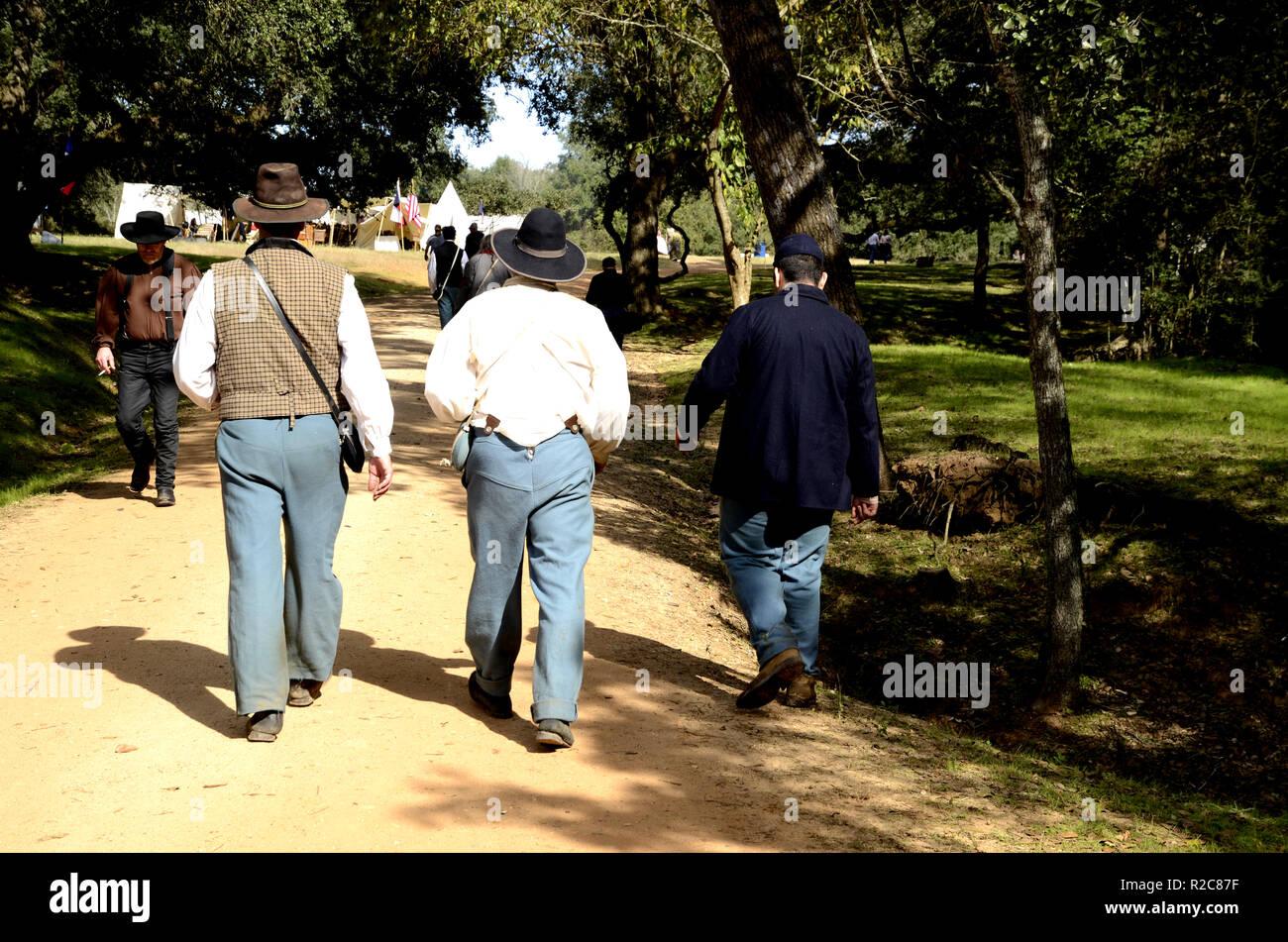 Civil War reenactment actors in a Texas campground