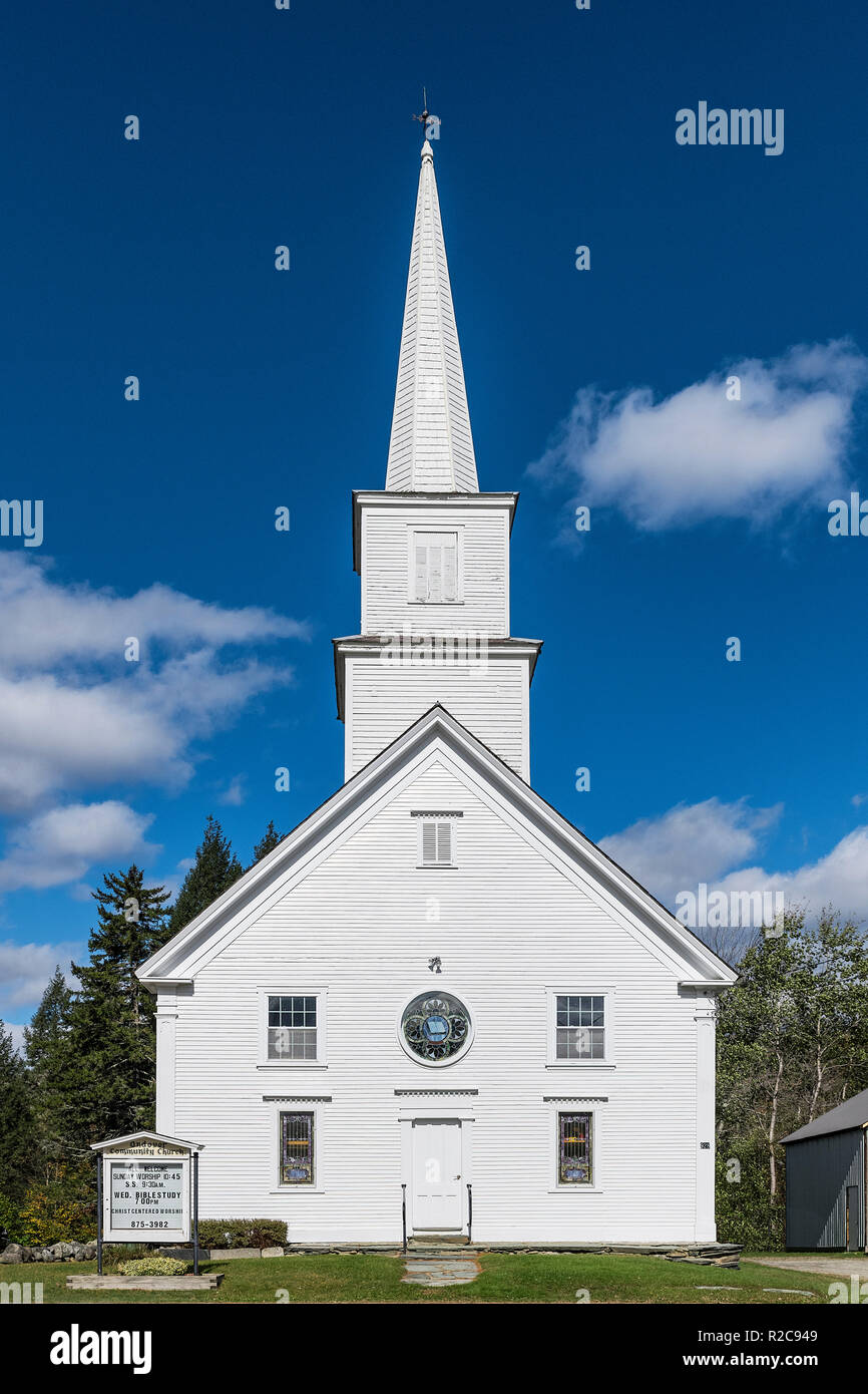 Picturesque Andover Community Church, Chester, Vermont, USA. - Stock Image