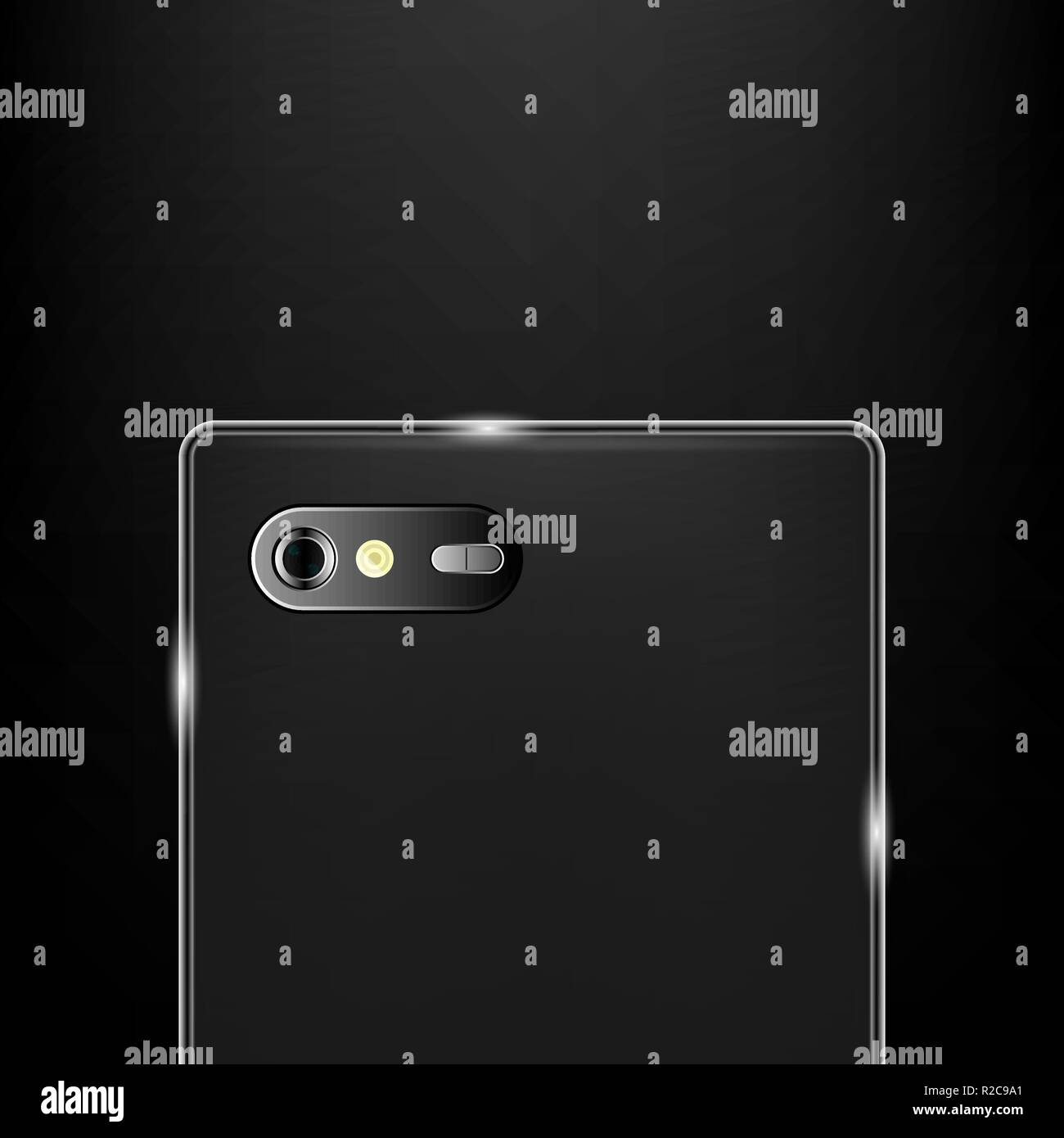 Realistic back camera on the smartphone, stock vector - Stock Vector