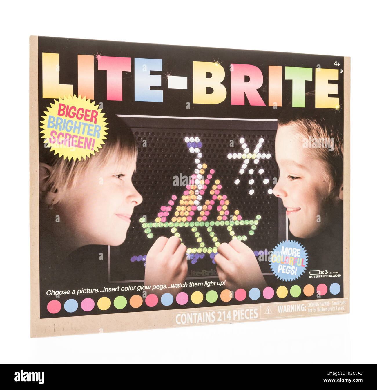 Winneconne, WI - 4 November 2018: A package of a Lite-Brite with a bigger and brighter screen on an isolated background. Stock Photo