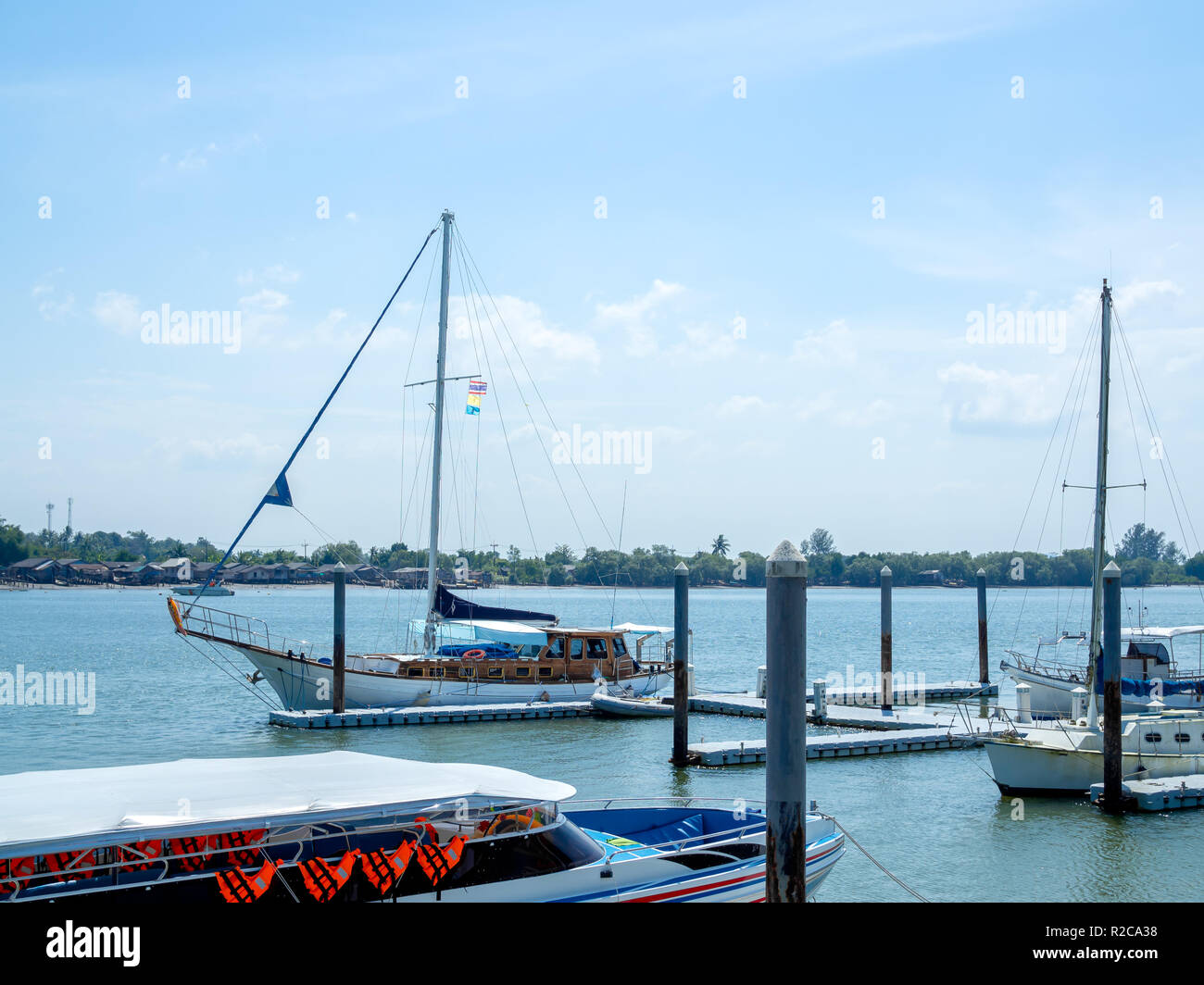 Luxury yachts docked in seaport  Marina parking of modern