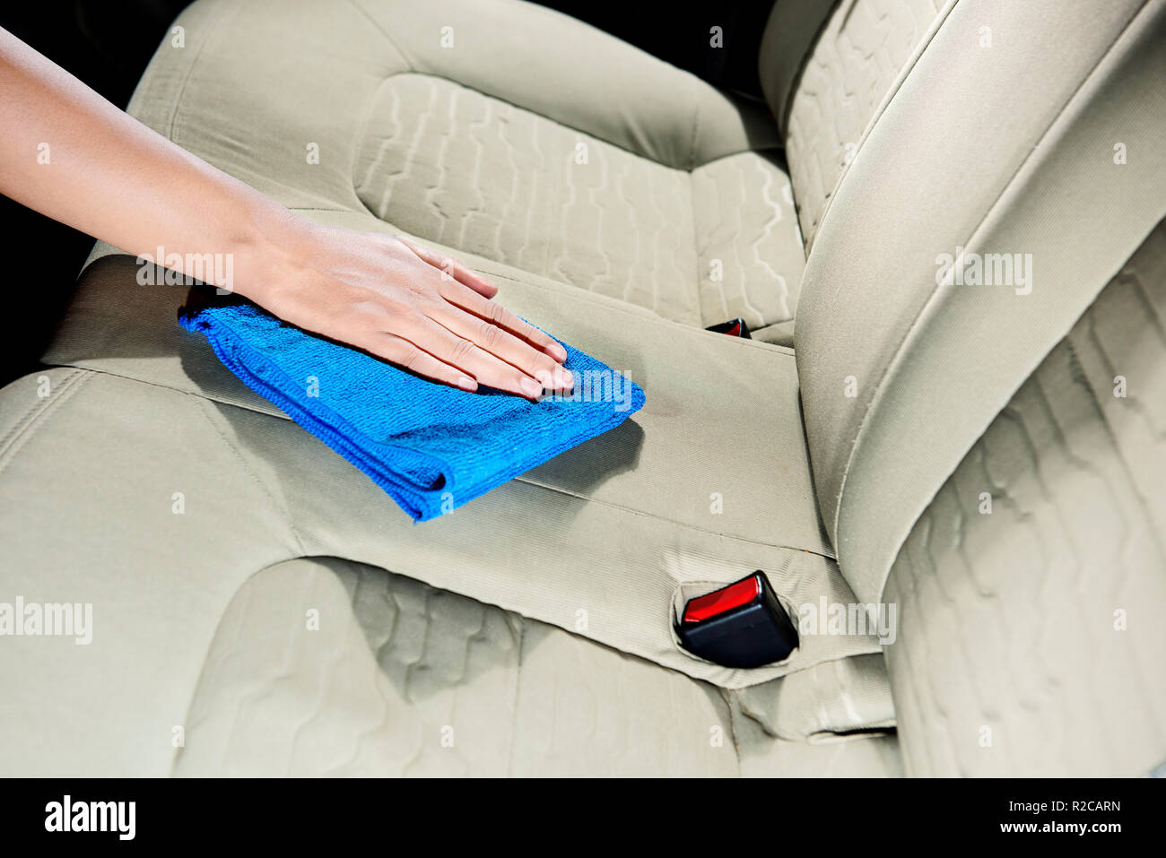 Hand Cleaning Car Interior With Rag Cloth At Home