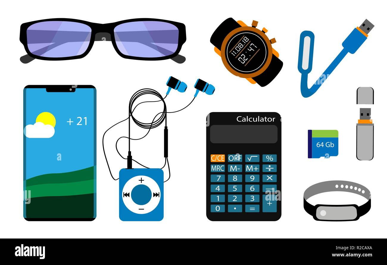 A set of gadgets. Smartphone, glasses, player, calculator, memory drives. Isolated on white background. Vector illustration. - Stock Image