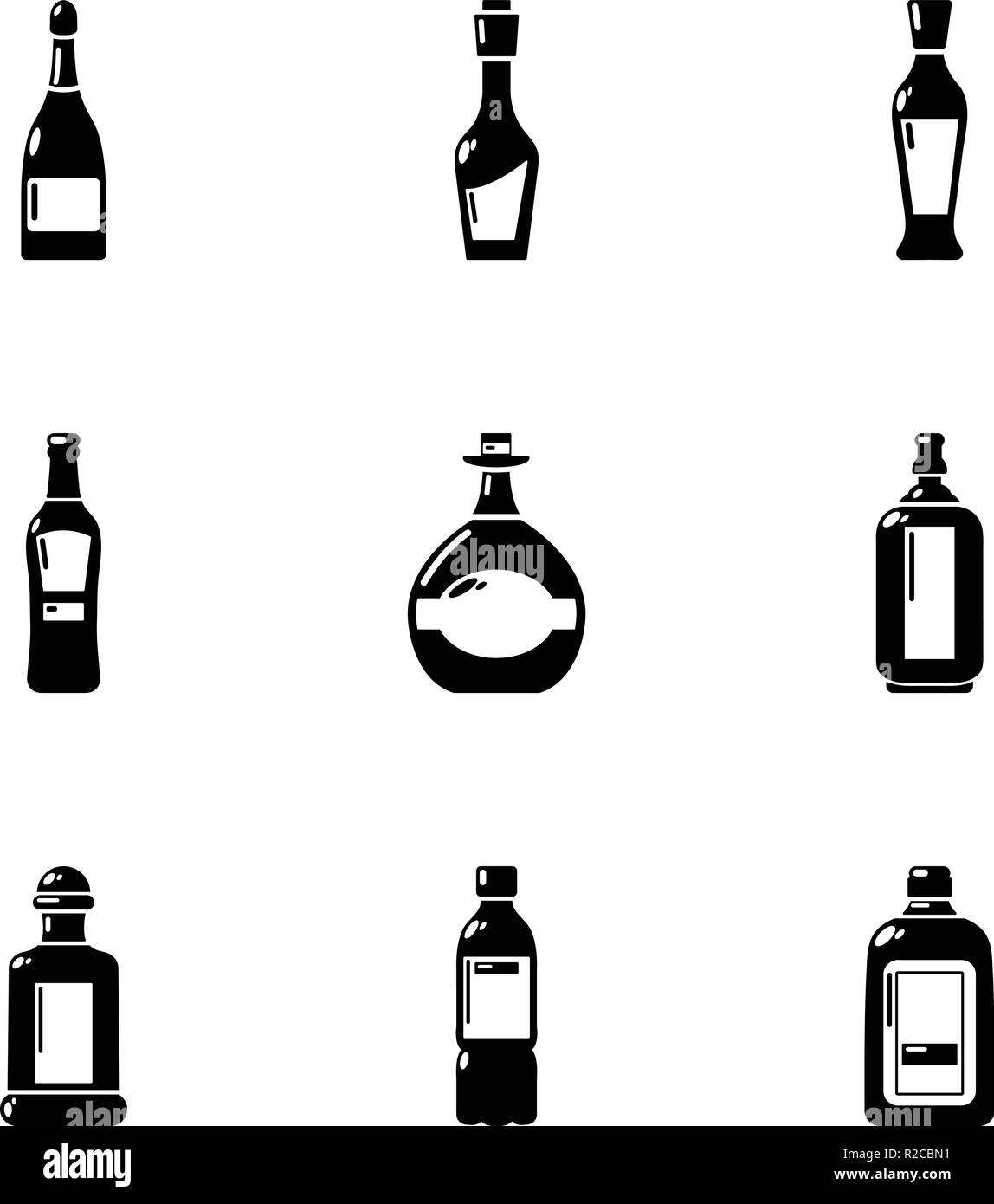 Blister pack icons set, simple style - Stock Image