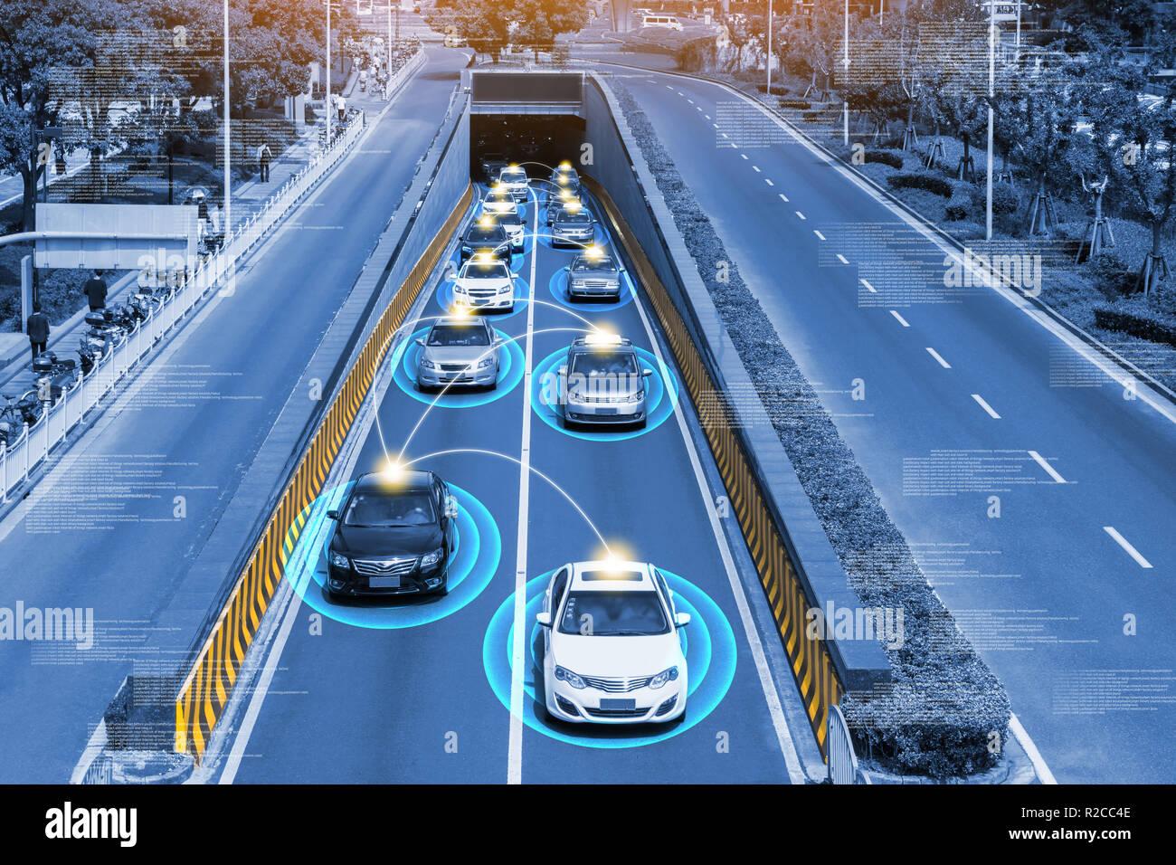 Smart car (HUD) , Autonomous self-driving mode vehicle on metro city road iot concept with graphic sensor radar signal system and internet sensor conn - Stock Image