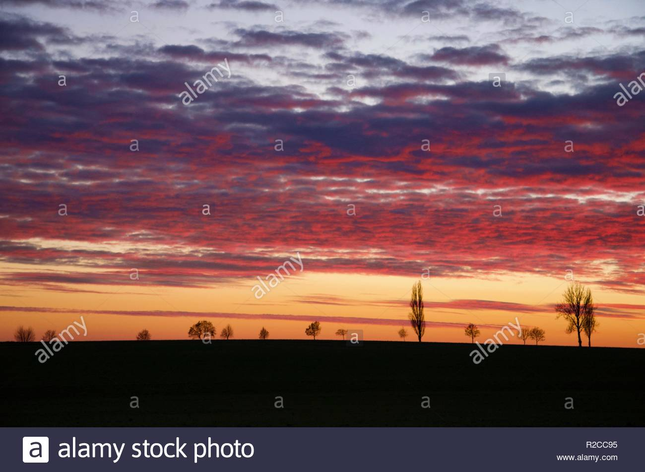 Sunset In The Countryside Of Bavaria In Germany Germany
