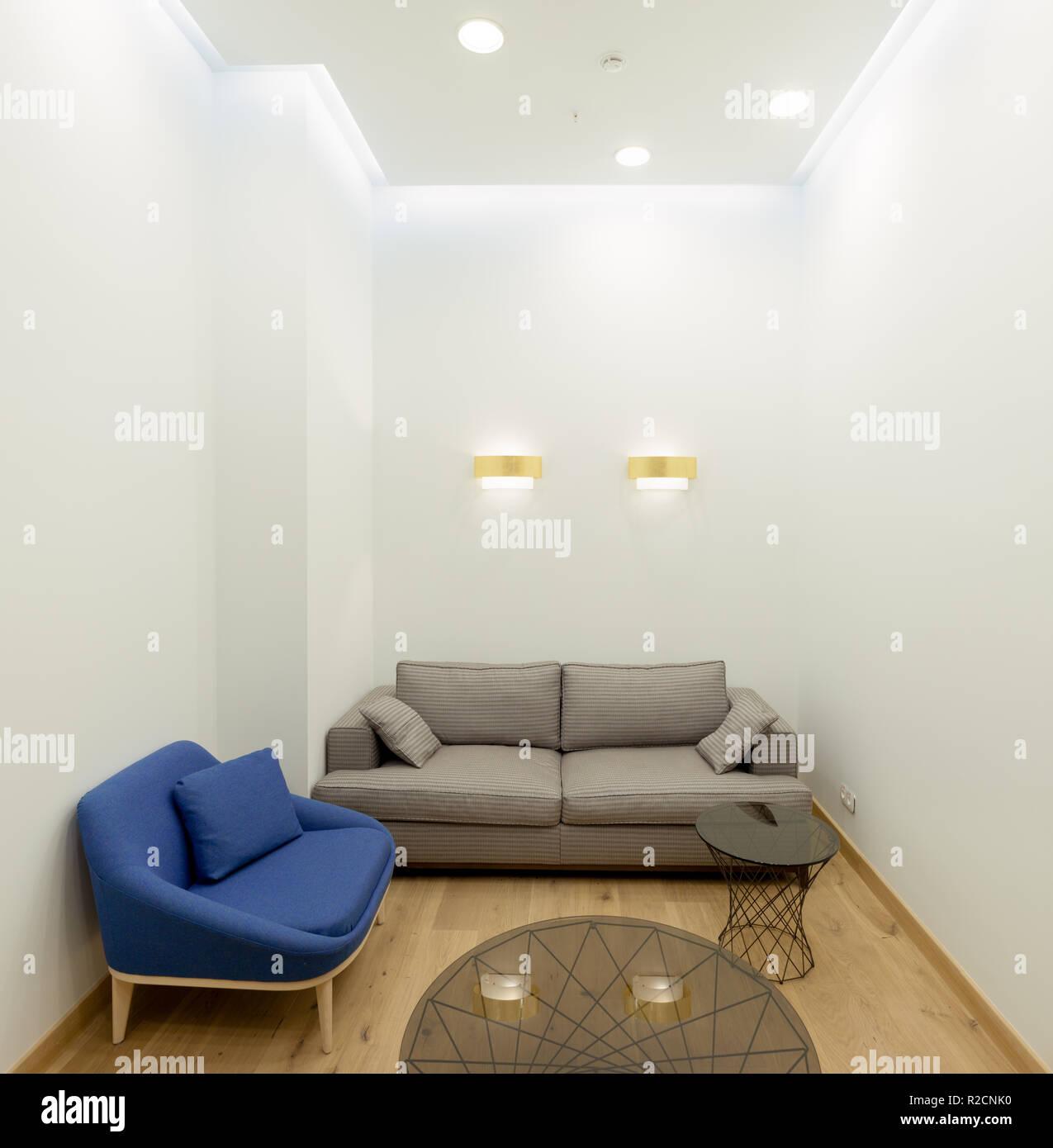Empty Modern Office Lounge Room Interior.