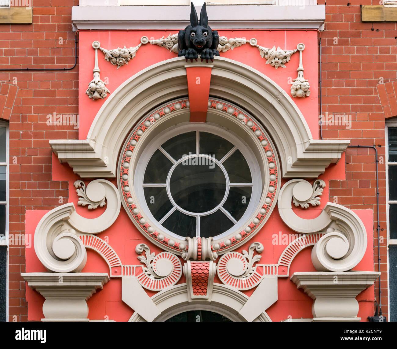 Ornate doorway Collingwood House with vampire rabbit and fanlight, Amen Corner, St Nicholas church yard buildings, Newcastle Upon Tyne, England, UK - Stock Image