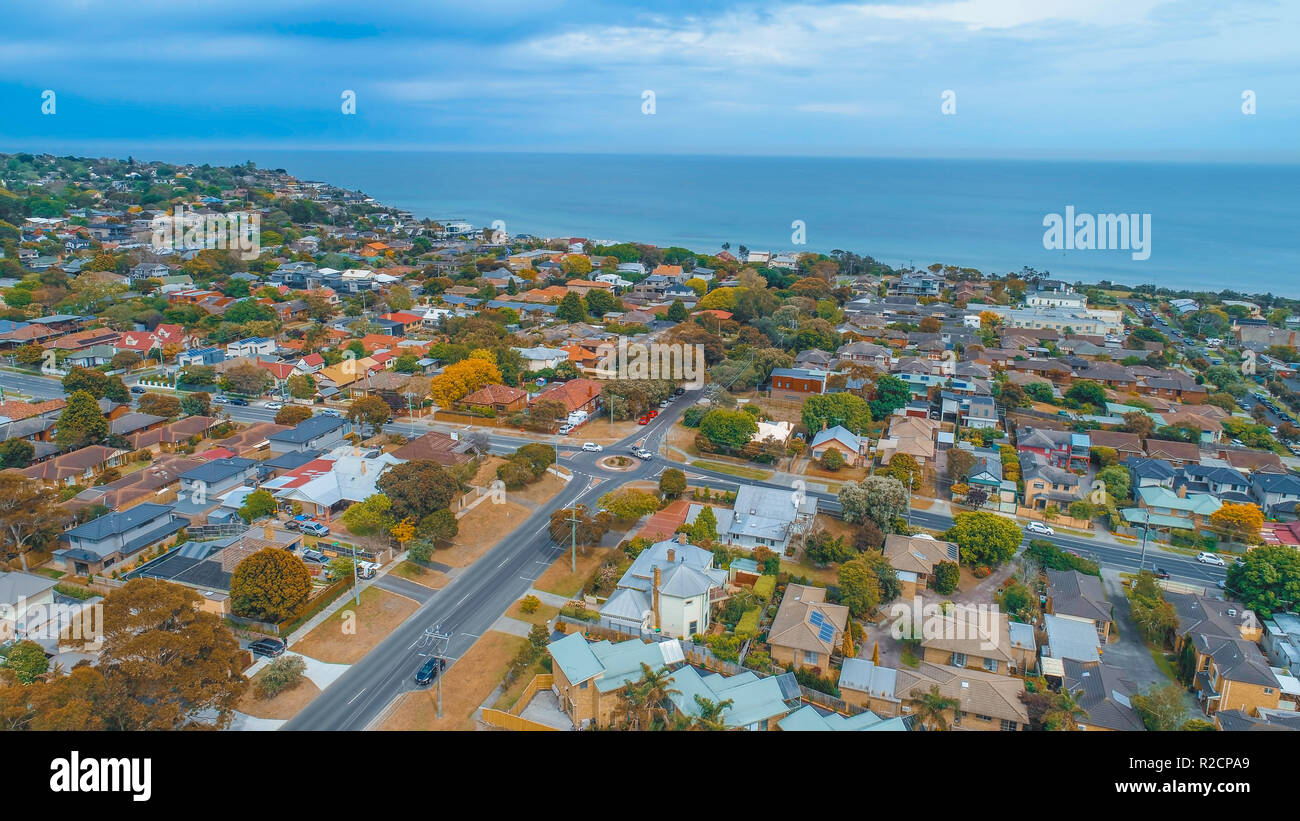 Aerial view of residential area near sea in Australia - Stock Image