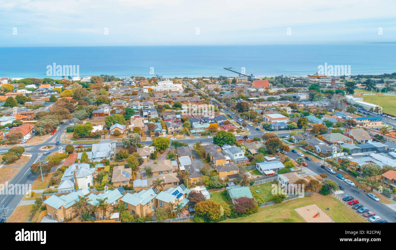 Aerial view of Frankston, Victoria, Australia - Stock Image