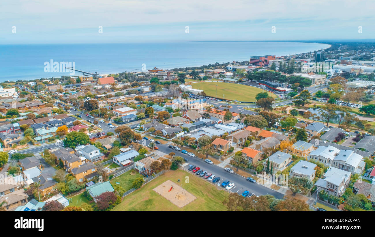 Aerial view of Frankston - suburb of Melbourne, Victoria, Australia - Stock Image