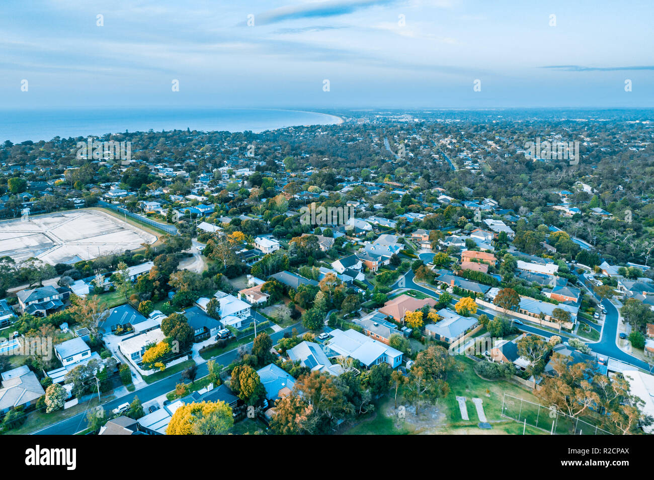 Aerial view of residential area on Mornington Peninsula, Victoria, Australia - Stock Image