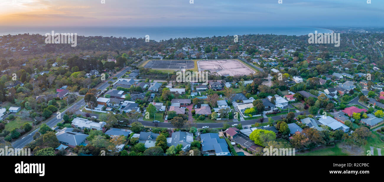 Frankston South, Victoria, Australia - aerial panorama at sunset - Stock Image