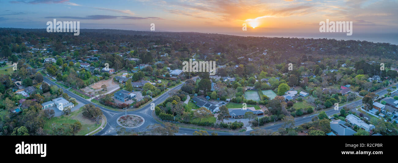 Aerial panorama of Frankston South suburb at sunset. Melbourne, Victoria, Australia - Stock Image