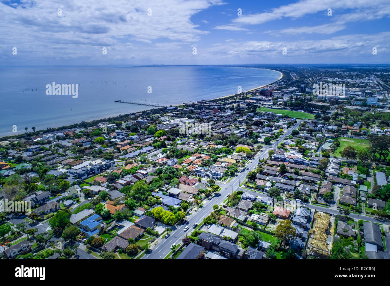 Aerial view of Frankston suburb in Melbourne, Australia - Stock Image