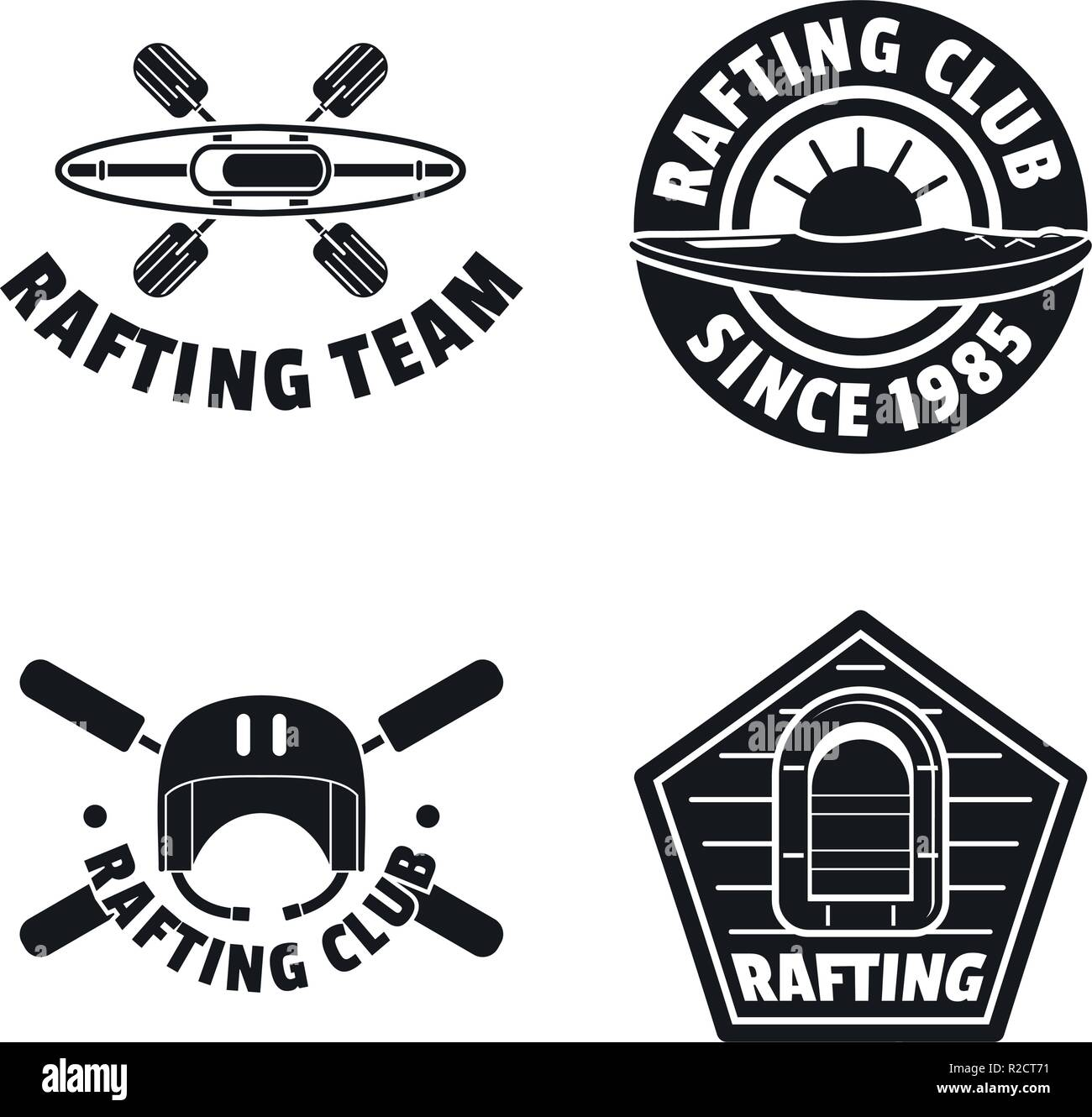 Rafting kayak logo water canoe icons set. Simple illustration of 4 rafting kayak logo water canoe vector icons for web - Stock Vector