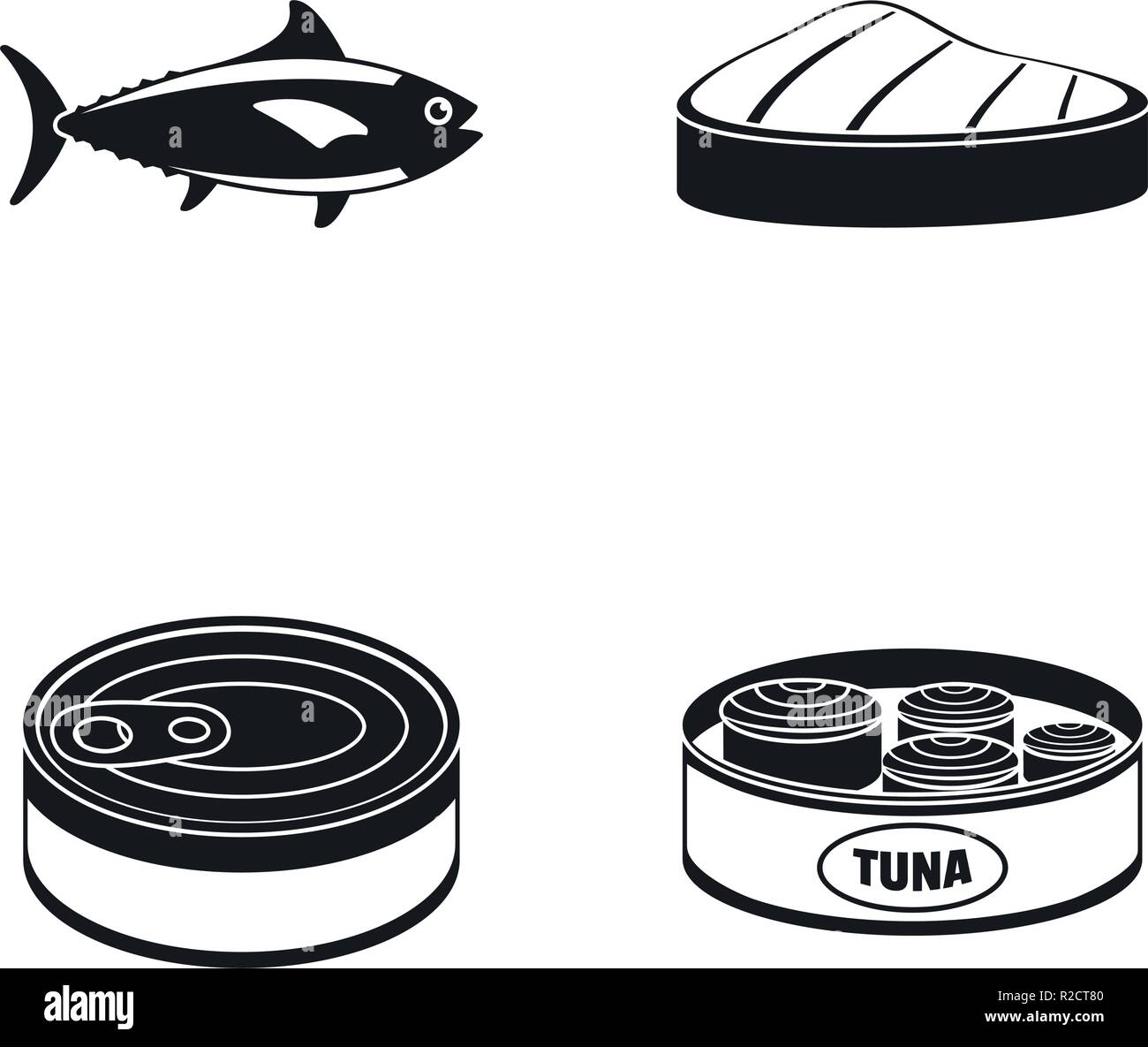 Tuna fish can steak icons set. Simple illustration of 4 tuna fish can steak vector icons for web - Stock Vector