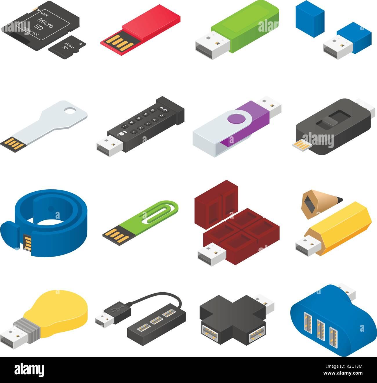 USB flash drive icons set. Isometric illustration of 16 USB flash drive vector icons for web - Stock Image