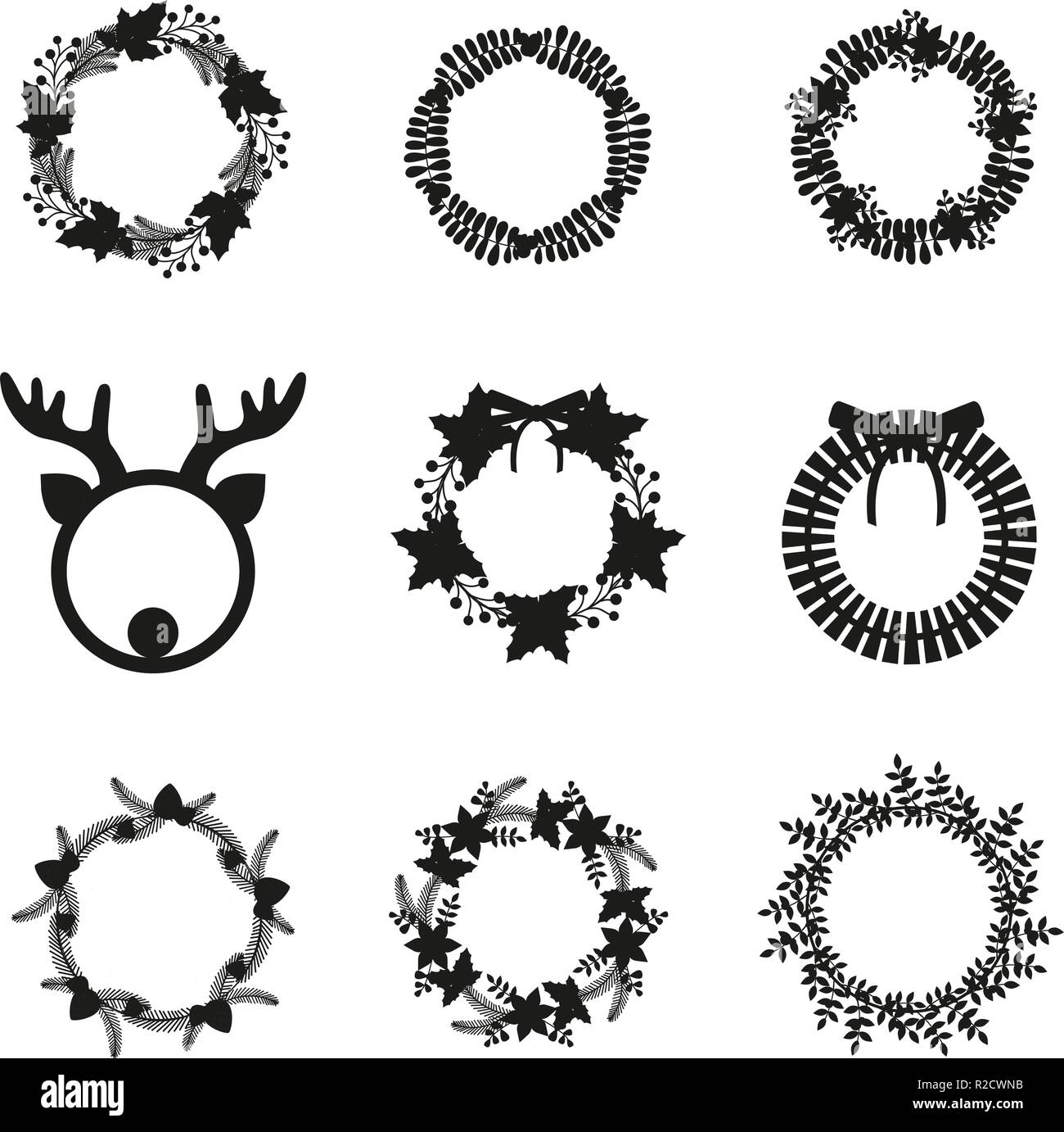 Floral Garland Black And White Stock Photos Images Alamy