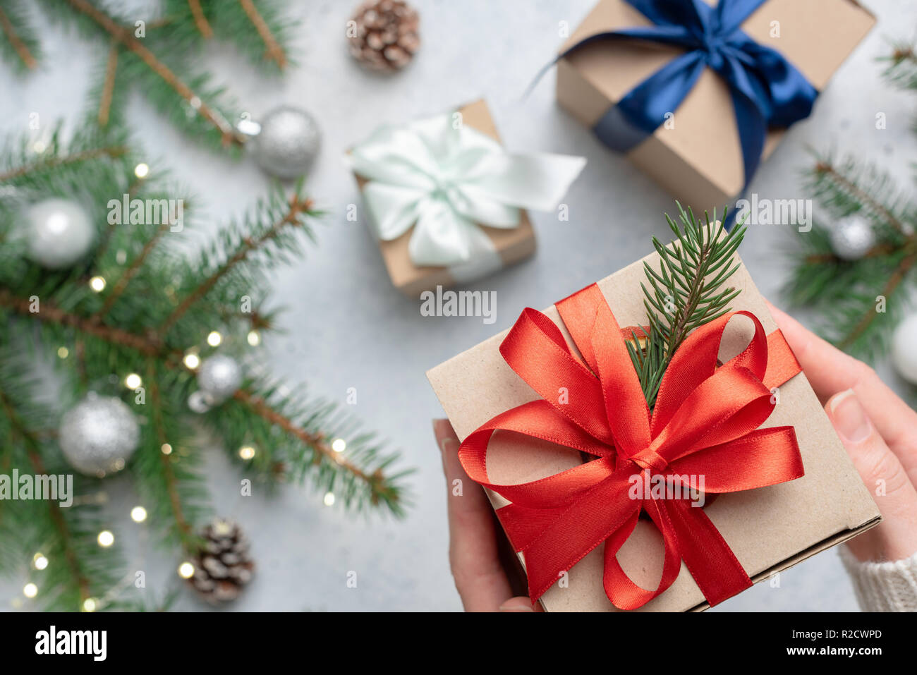 Christmas Gift Box Craft Paper Red Lace Winter Shopping Christmas Holidays Background Concept Stock Photo Alamy