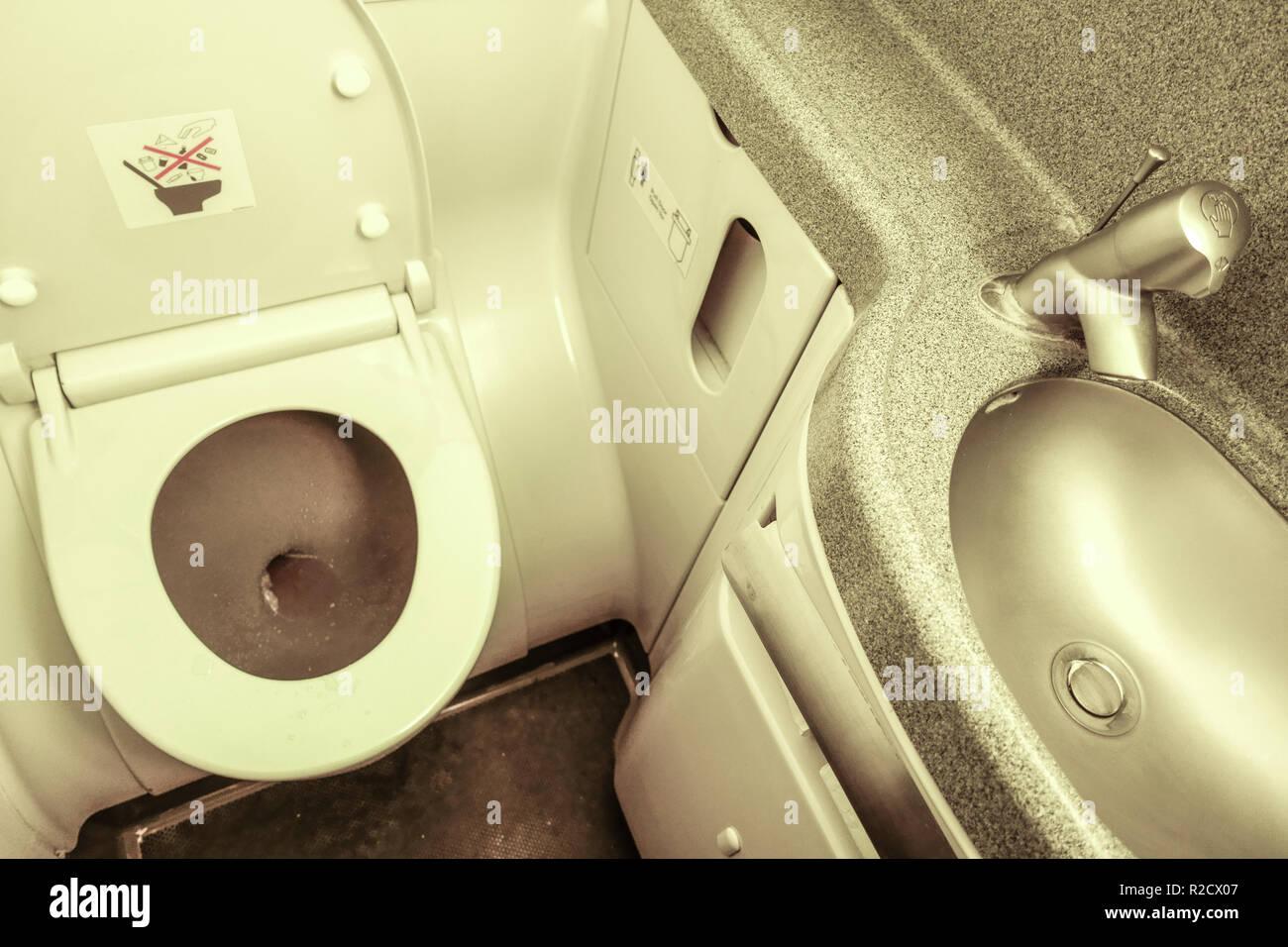 Boeing 737 airplane toilet interior - Stock Image
