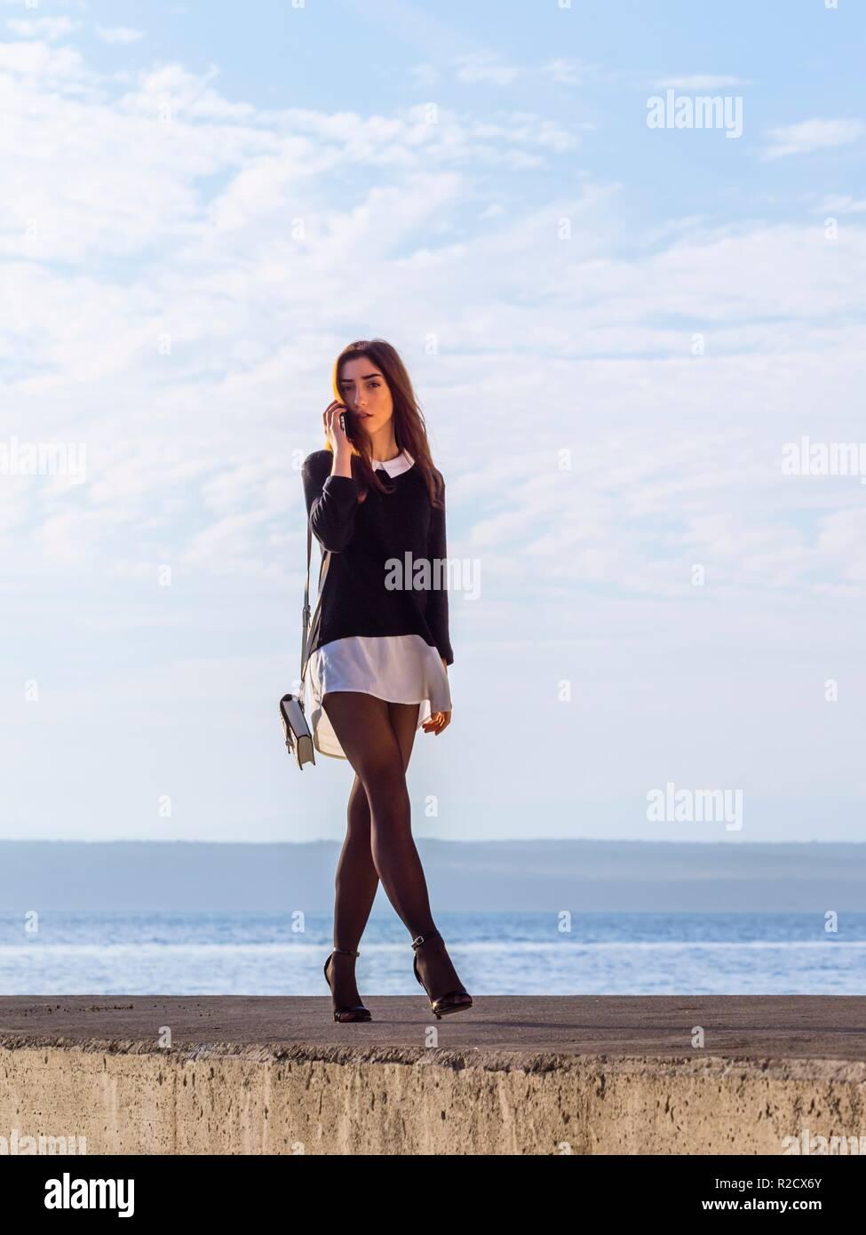 Teen girl talking talk Stock Photo
