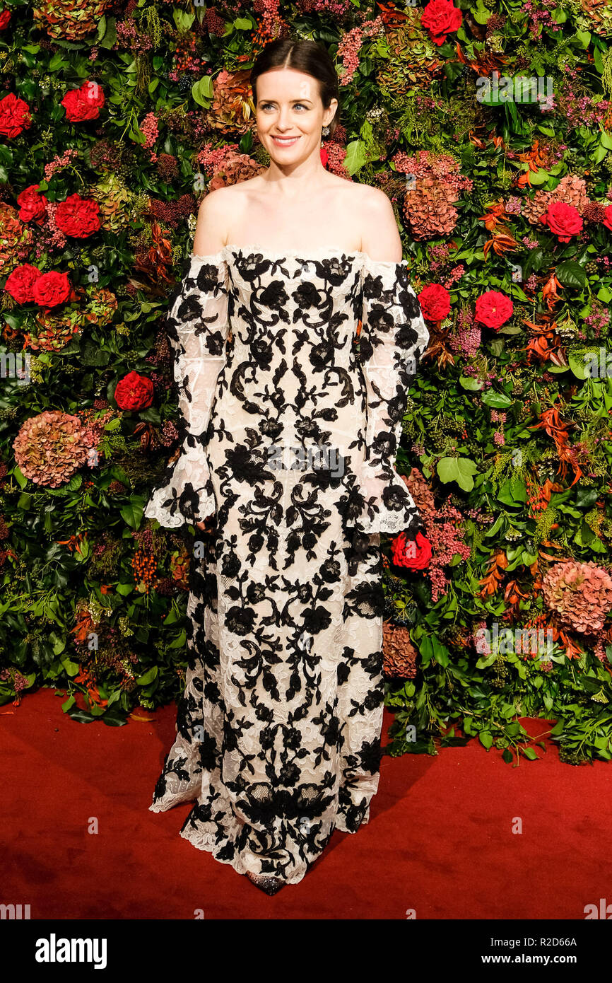 London, UK. 18th Nov, 2018. Claire Foy at 64th Evening Standard Theatre Awards 2018 on Sunday 18 November 2018 held at Theatre Royal Drury Lane, London. Pictured: Claire Foy. Credit: Julie Edwards/Alamy Live News - Stock Image