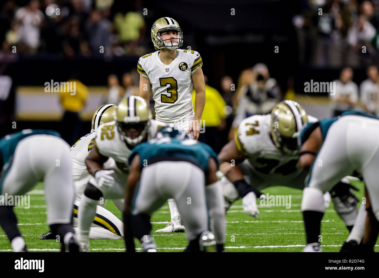 New Orleans Saints kicker Wil Lutz (3) looks on against the Philadelphia  Eagles at the Mercedes-Benz Superdome in New Orleans c30b04aeb