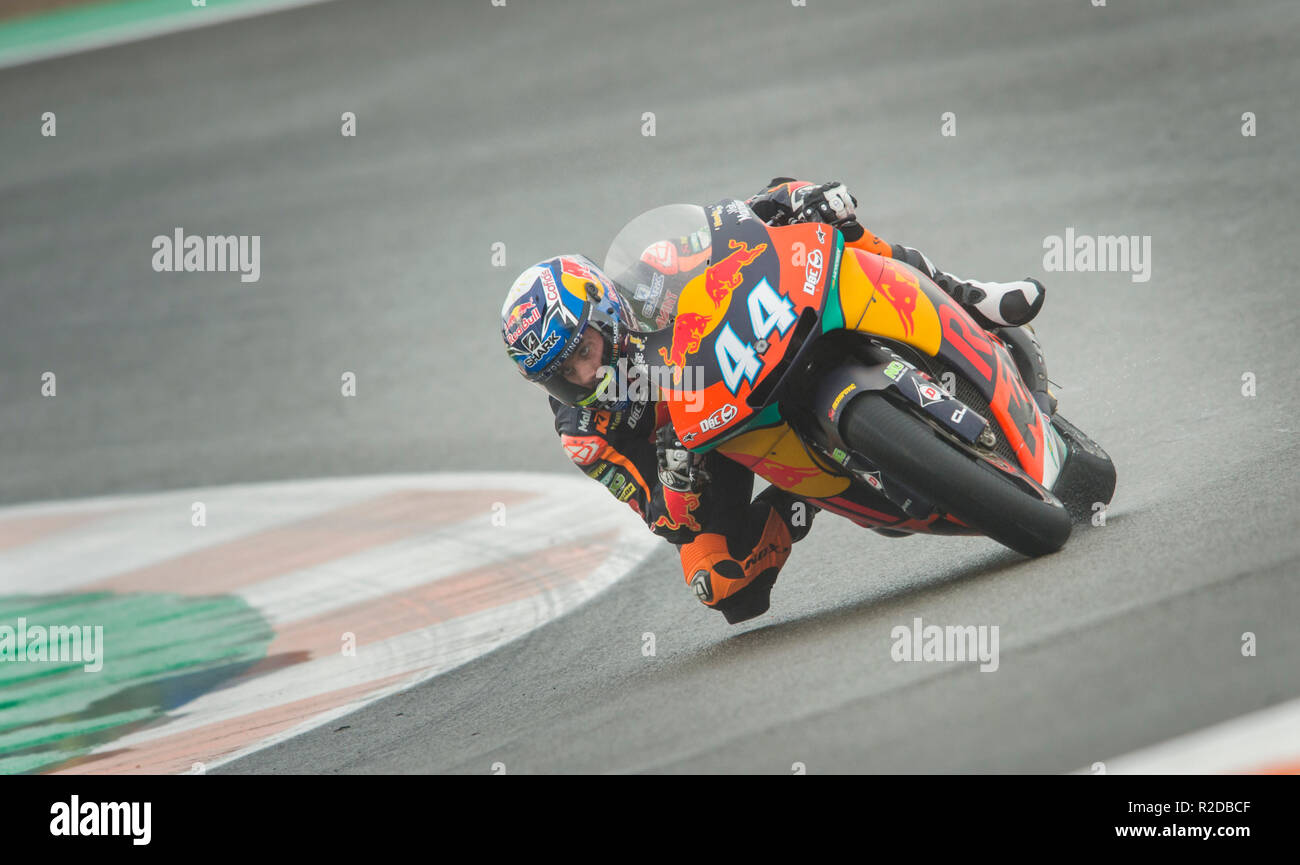 Cheste, Valencia, Spain. 18th Nov, 2018. GP Comunitat Valenciana Moto GP.Miguel Oliveira of KTM team during the moto 2 race before win. Credit: rosdemora/Alamy Live News - Stock Image
