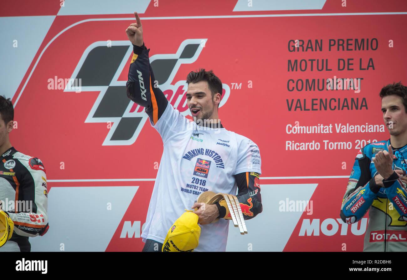 Cheste, Valencia, Spain. 18th Nov, 2018. GP Comunitat Valenciana Moto GP.Miguel Oliveira of KTM team celebrates his victory in the podium after win moto 2 race. Credit: rosdemora/Alamy Live News - Stock Image