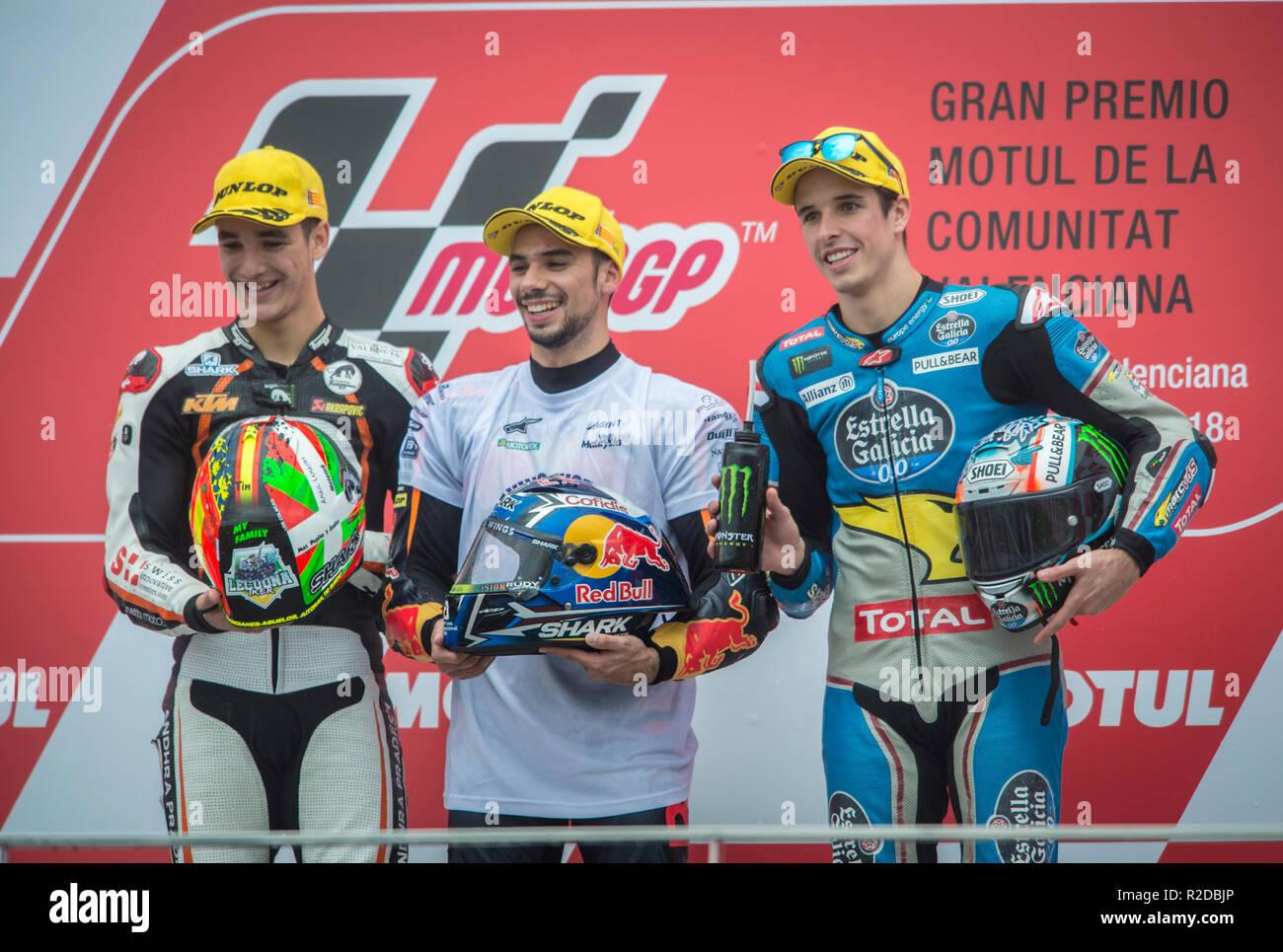 Cheste, Valencia, Spain. 18th Nov, 2018. GP Comunitat Valenciana Moto GP.Oliveira, Lecuaona and Alex Marquez in podium after moto 2 race. Credit: rosdemora/Alamy Live News - Stock Image