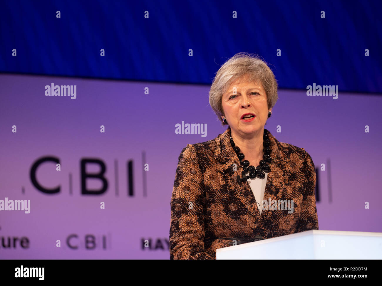 London, UK. 19th November, 2018. Prime Minister, Theresa May, gives the keynote address at The Confereration of British Industry (CBI) conference at the Intercontinental Hotel in North Greenwich. Credit: Tommy London/Alamy Live News - Stock Image