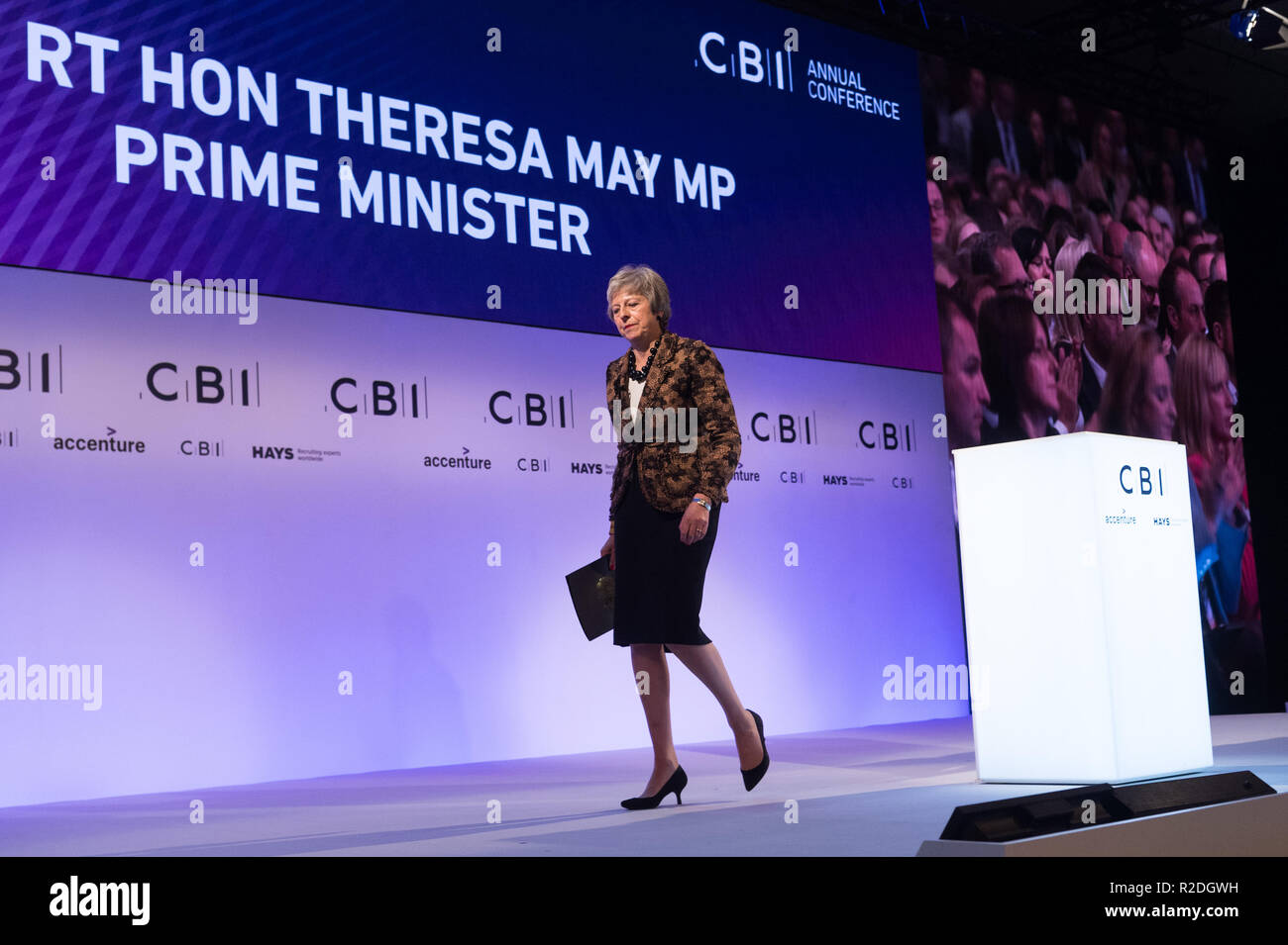 London, Britain. 19th Nov, 2018. British Prime Minister Theresa May leaves after delivering a keynote speech at the annual conference of the Confederation of British Industry (CBI) in London, Britain, on Nov. 19, 2018. Theresa May on Monday enlisted British business leaders to back her much-criticized Brexit deal, insisting that she would not make any change to the draft divorce agreement between London and Brussels. Credit: Ray Tang/Xinhua/Alamy Live News Stock Photo
