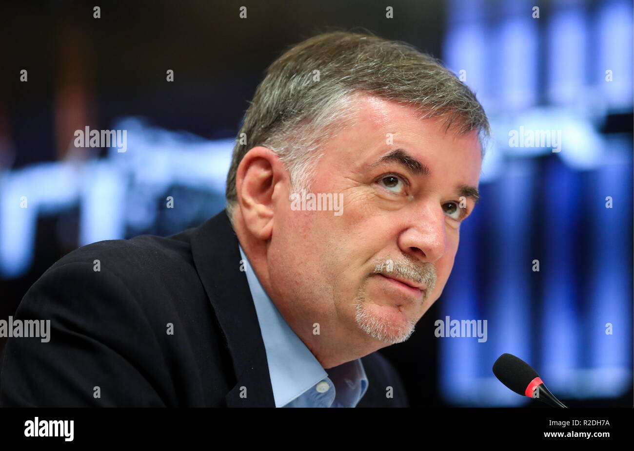Moscow, Russia. 19th Nov, 2018. MOSCOW, RUSSIA - NOVEMBER 19, 2018: Roscosmos Spokesman Vladimir Ustimenko attends a press conference marking the 20th anniversary of the International Space Station. Sergei Savostyanov/TASS Credit: ITAR-TASS News Agency/Alamy Live News - Stock Image