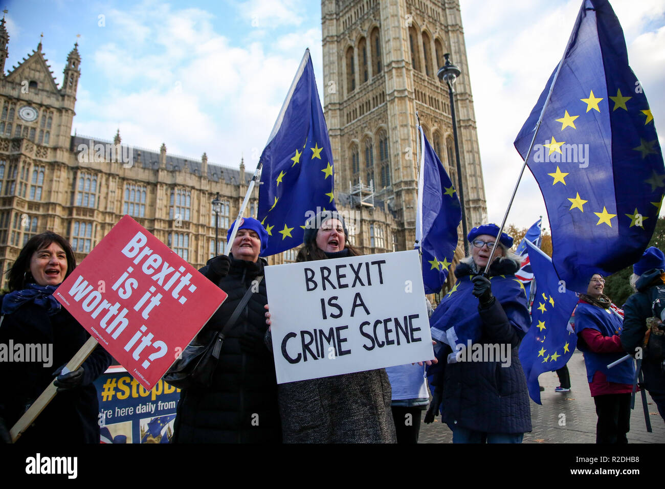 London, UK. 19th Nov, 2018. Pro-EU protesters are seen holding flags and placards during the protest.Pro-EU protesters from SODEM (Stand in Defiance European Movement) including a large dinosaur demonstrates with their placards and European Union flags outside the Palace of Westminster in central London ahead of the crucial week of Brexit negotiations as Prime Minister Theresa May prepares to meet Chief negotiator Michel Barnier later this week to discuss the withdrawal deal. Credit: Dinendra Haria/SOPA Images/ZUMA Wire/Alamy Live News - Stock Image