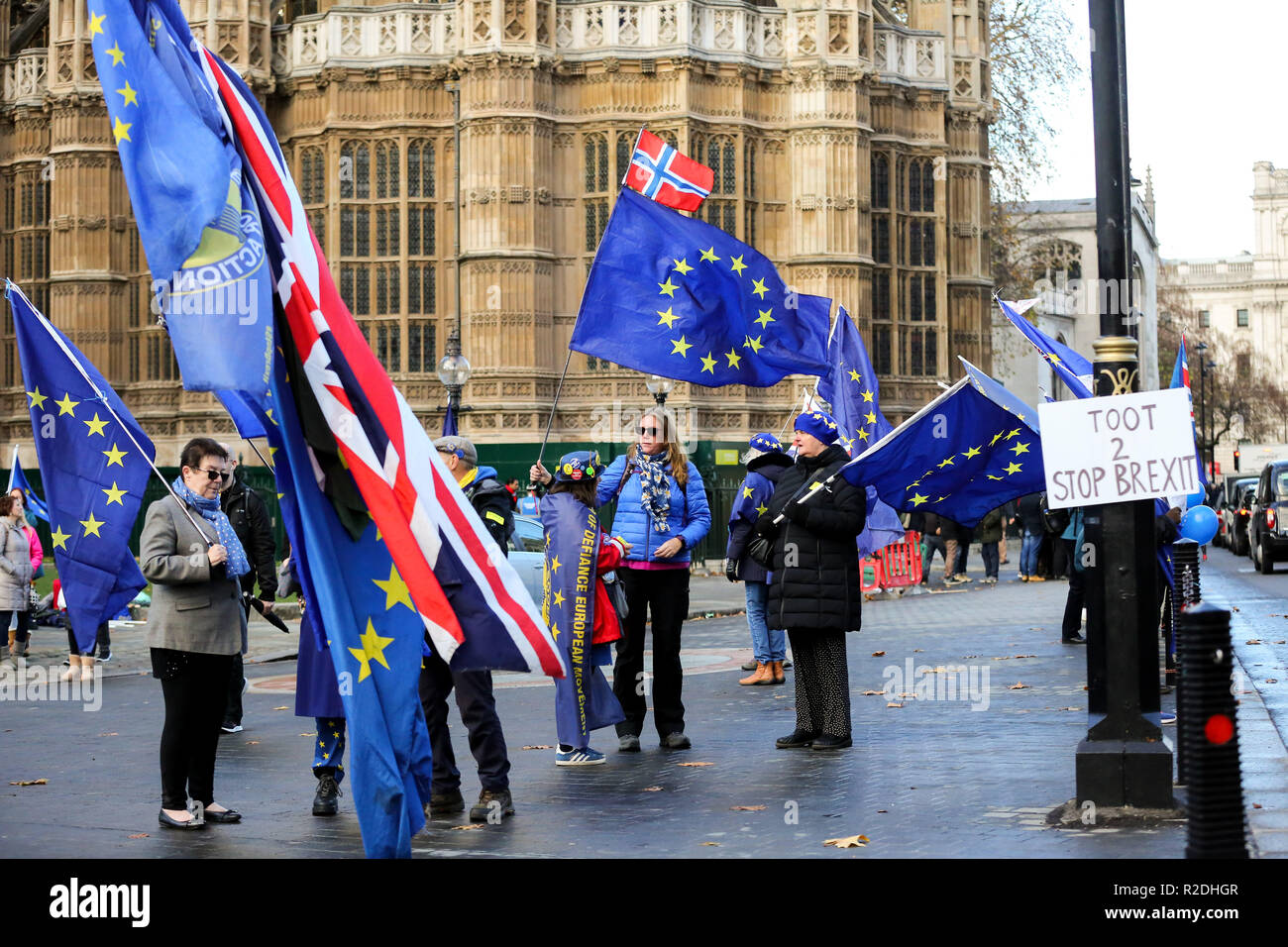 London, UK. 19th Nov, 2018. Pro-EU protesters are seen holding flags during the protest.Pro-EU protesters from SODEM (Stand in Defiance European Movement) including a large dinosaur demonstrates with their placards and European Union flags outside the Palace of Westminster in central London ahead of the crucial week of Brexit negotiations as Prime Minister Theresa May prepares to meet Chief negotiator Michel Barnier later this week to discuss the withdrawal deal. Credit: Dinendra Haria/SOPA Images/ZUMA Wire/Alamy Live News - Stock Image