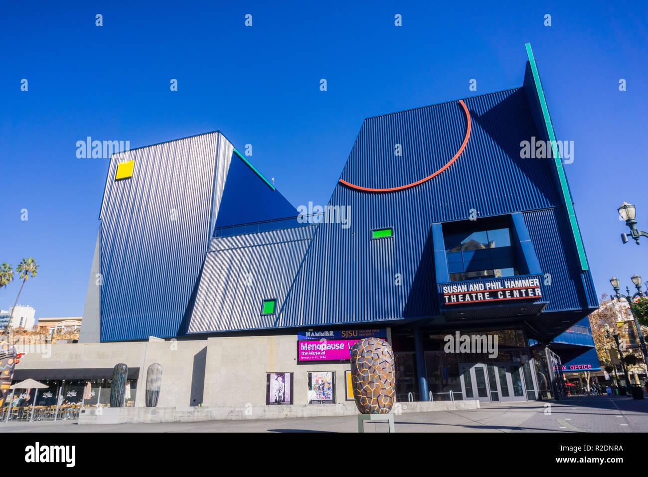 December 6, 2017 San Jose / CA / USA - Susan and Phil Hammer Theatre Center in downtown San Jose, near San Jose State University, south San Francisco  Stock Photo