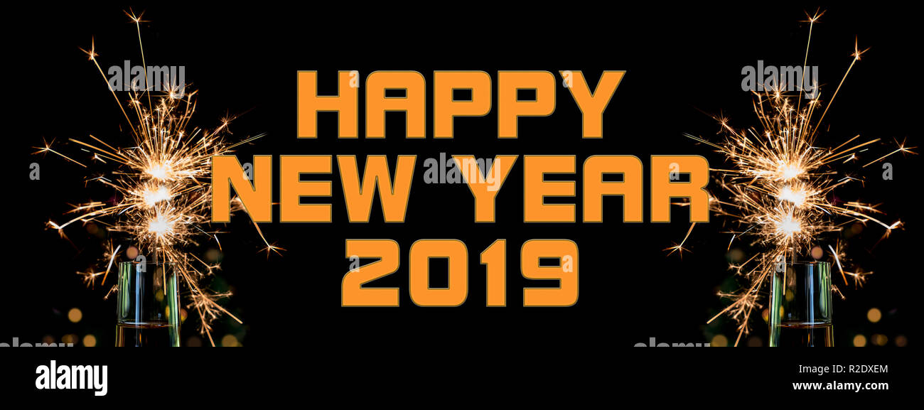 happy new year banner for 2019 stock image