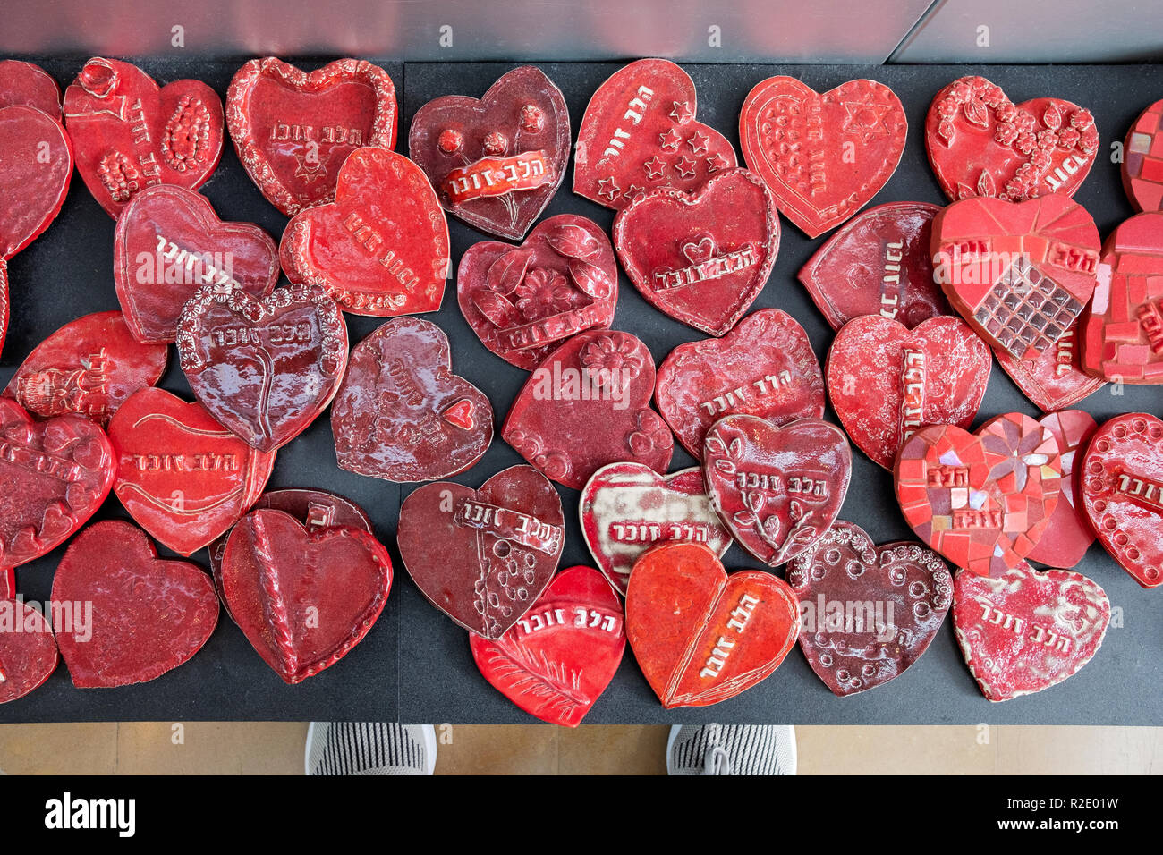 Some of the 27,000 ceramic hearts on display at the Rabin Center to commemorate Israelis killed in wars and terrorist attacks. In Tel Aviv, Israel Stock Photo