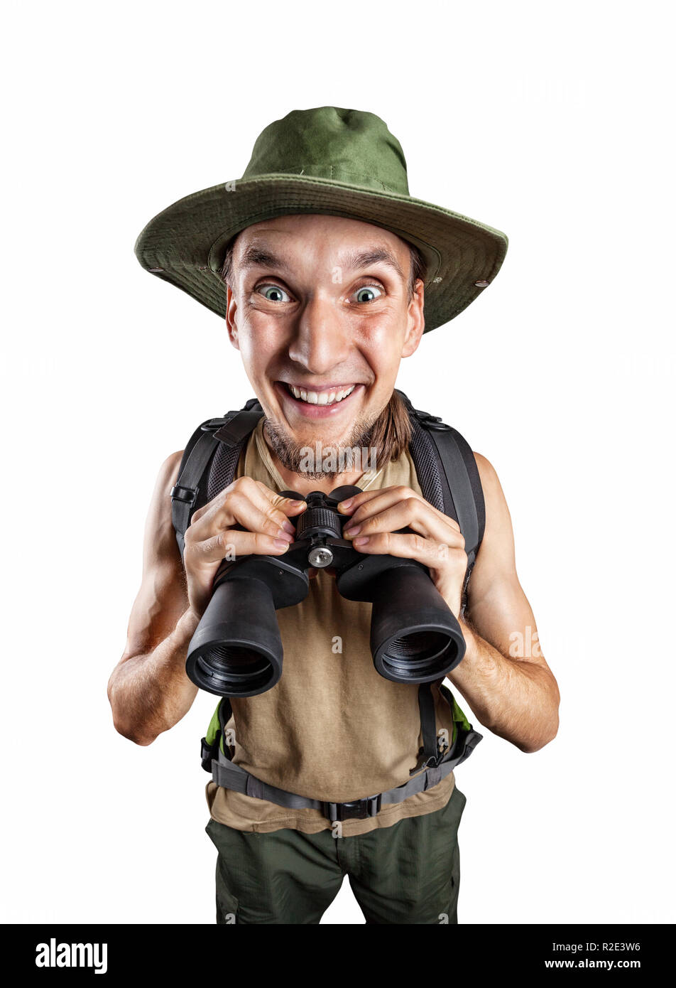 Happy man with binocular and backpack isolated on white background with clipping path - Stock Image
