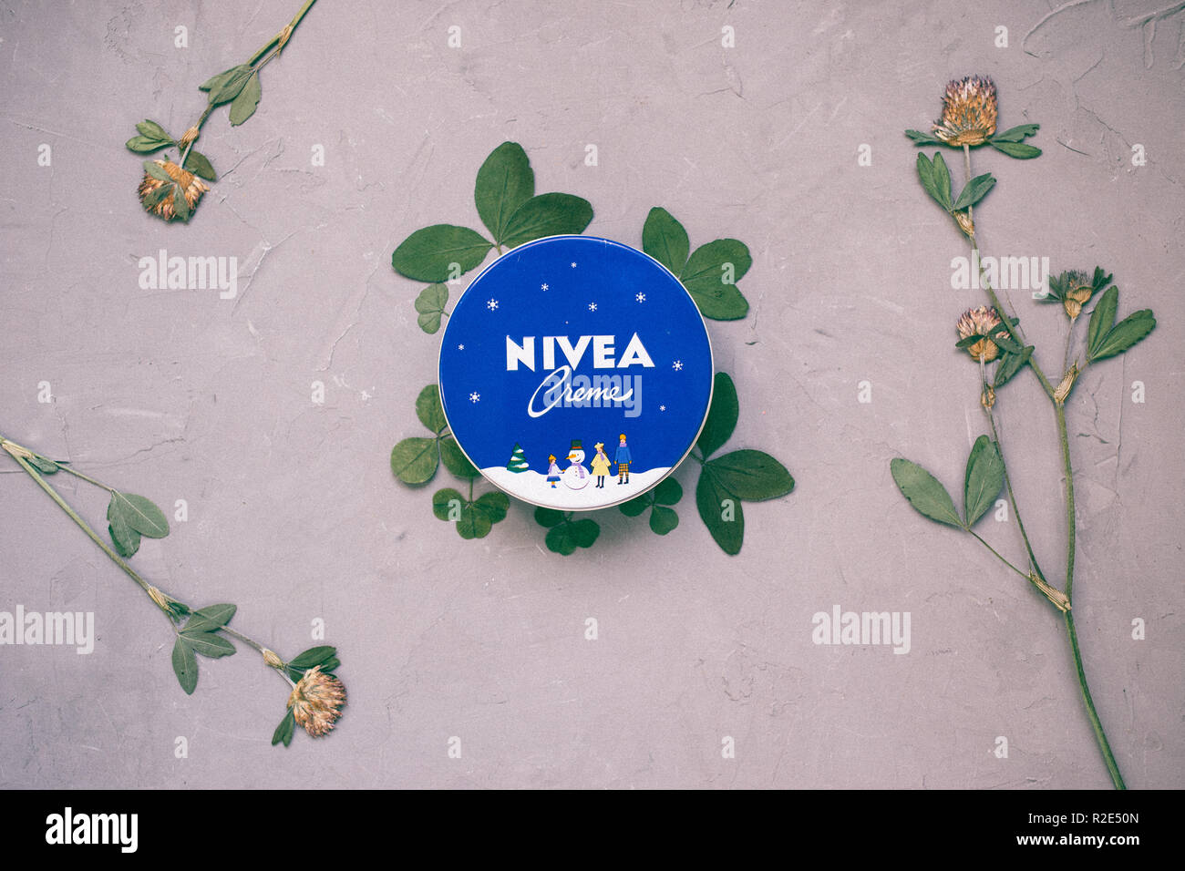 Moscow, Russia - 11 14 2018: top view cream nivea on gray background - Stock Image