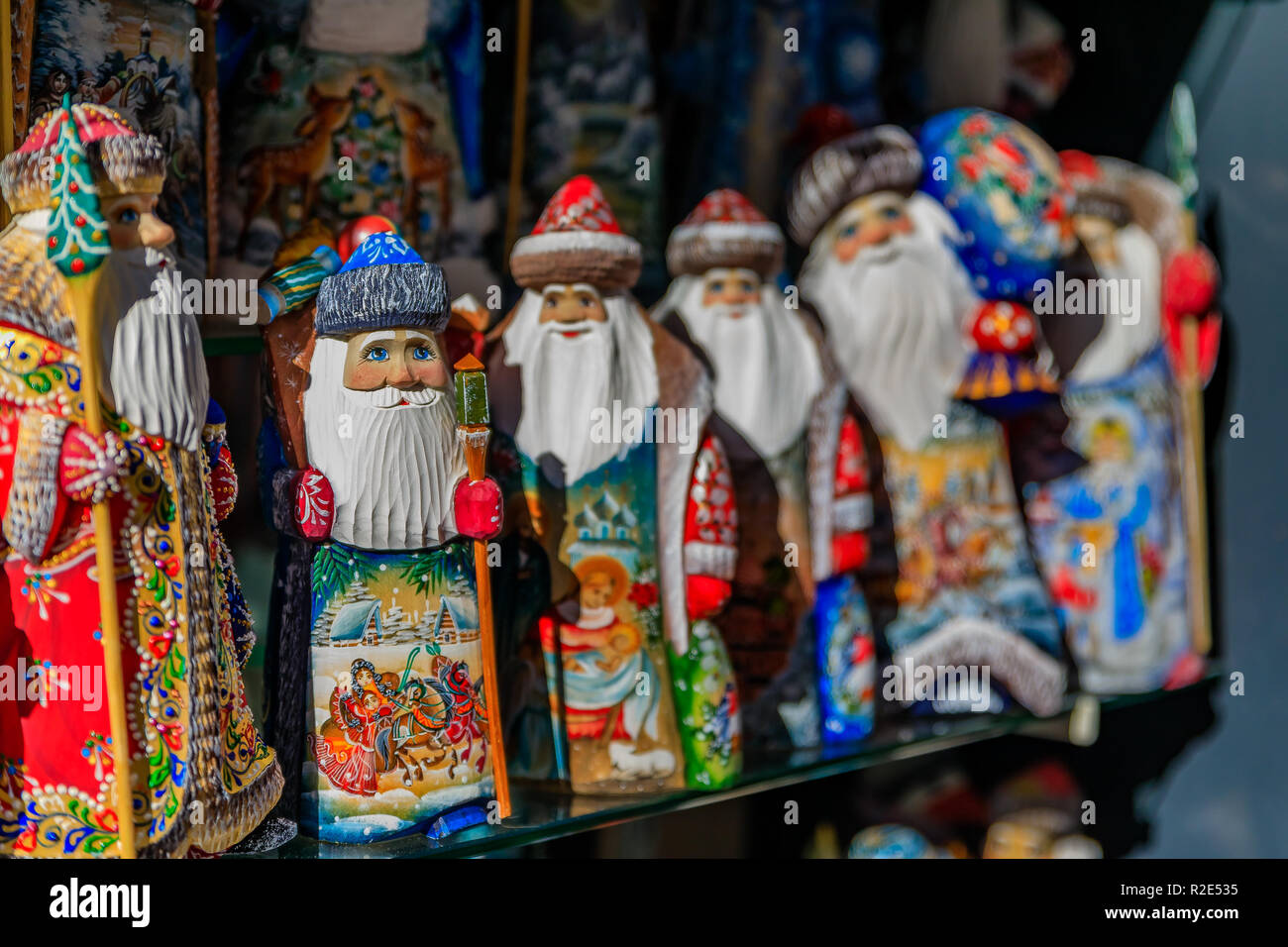 Colorful Christmas ornaments of Russian Santa Claus or Ded Moroz  (Grandfather Frost) on display 6b74d5981eb5
