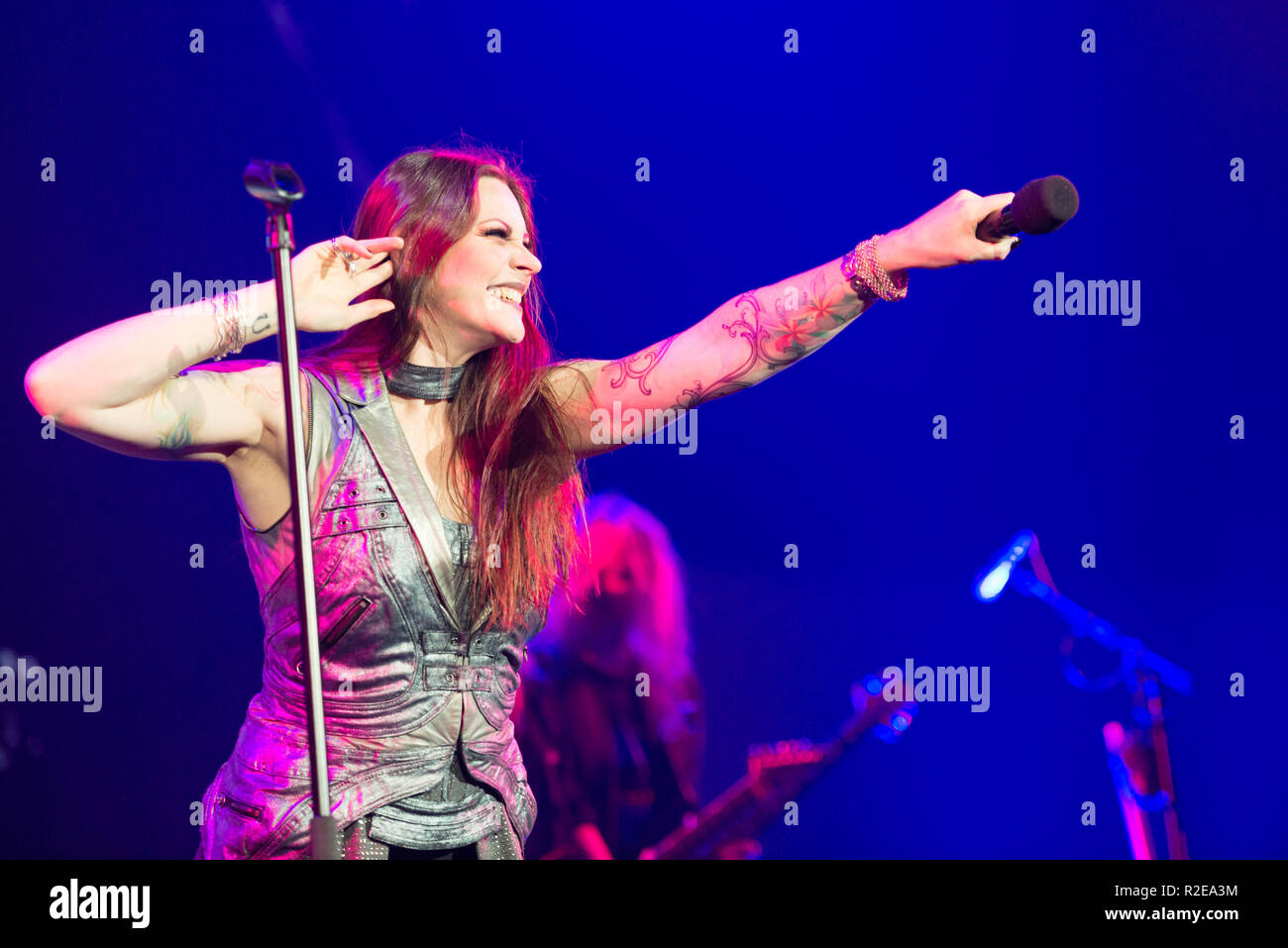 BRATISLAVA, SLOVAKIA - NOV 13, 2018: Floor Jansen - vocalist of Nightwish, the Finnish symphonic metal band, performs a live concert at the Decades: E - Stock Image
