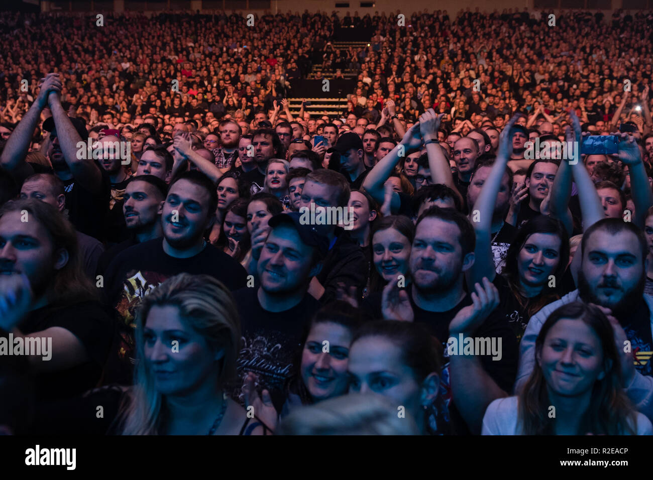 BRATISLAVA, SLOVAKIA - NOV 13, 2018: Concert goers attend a live concert with the the Finnish symphonic metal band Nightwish at the Decades: Europe 20 - Stock Image