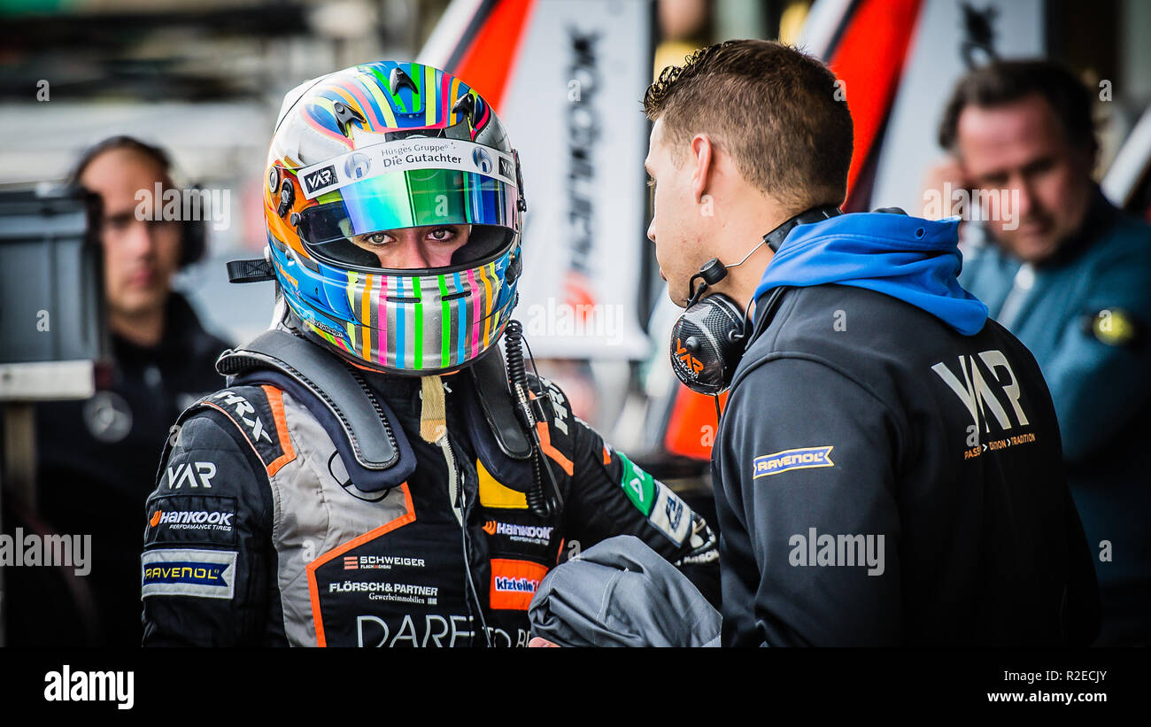 Teenage German racing driver Sophia Flörsch during the F3 race. Support race at the Silverstone WEC 6Hrs on Friday 17 August 2018. - Stock Image