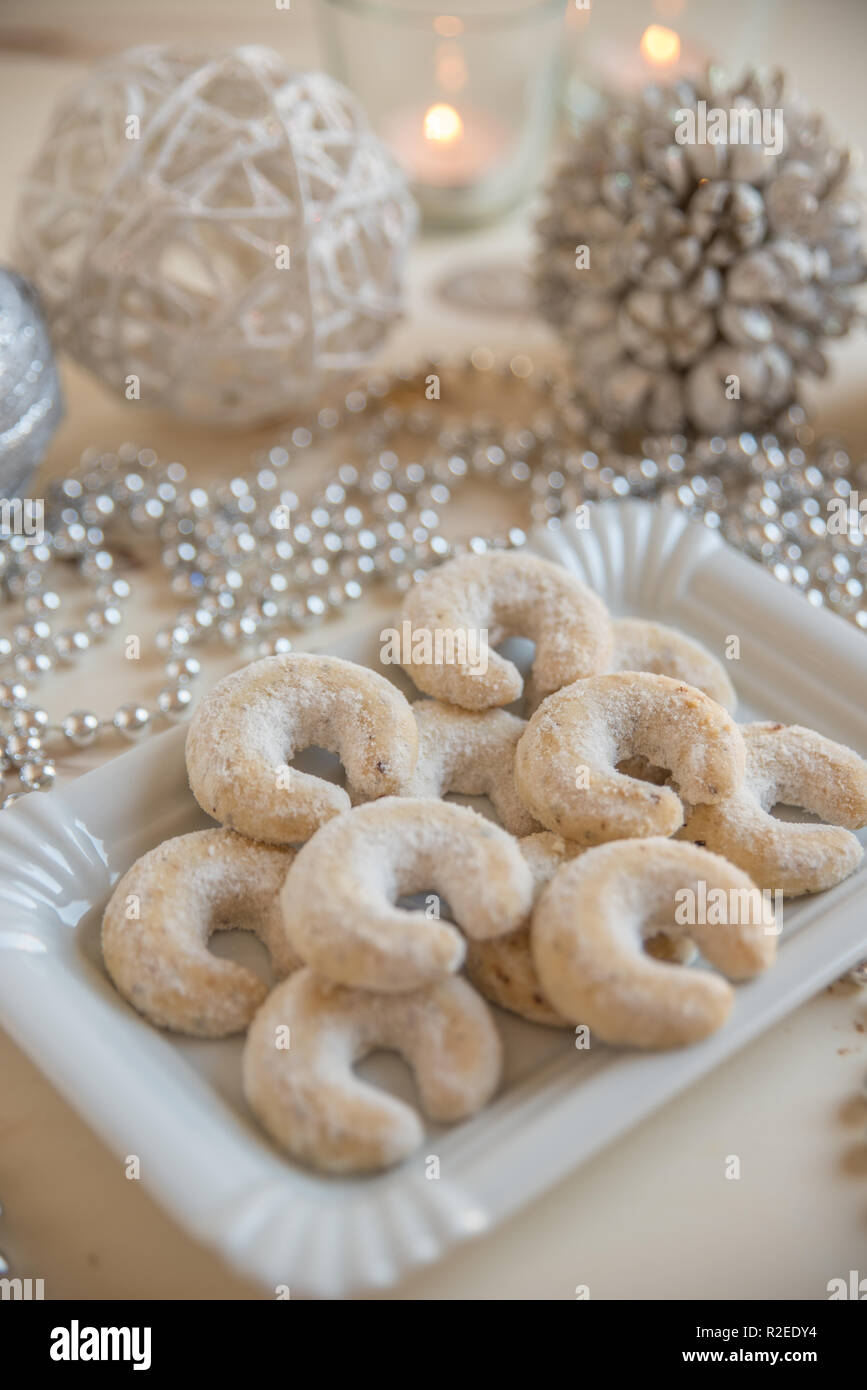 Christmas Vanilla Nut Crescent Cookies Stock Photo 225282376 Alamy