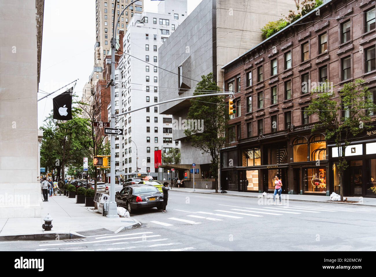 New York City, USA - June 24, 2018: Madison Avenue with The Met Breuer museum. It is a museum of modern and contemporary art in the Upper East Side of - Stock Image